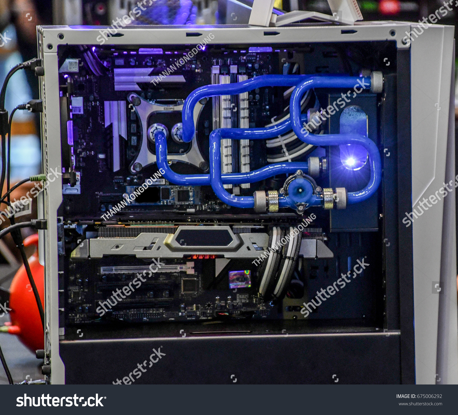 desktop computer water cooling system stock photo edit now