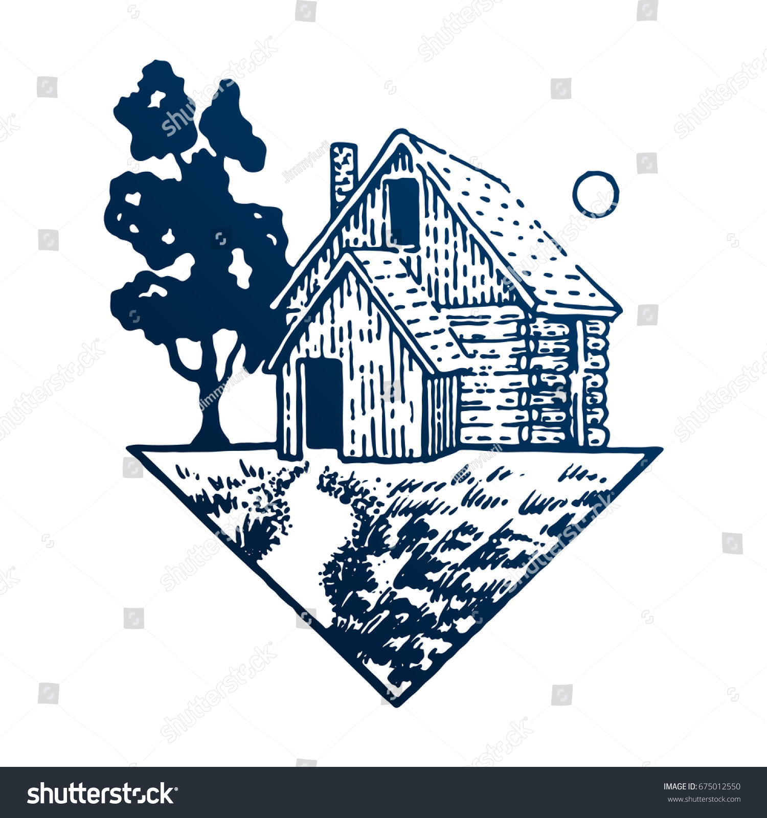 Wooden house tree sun triangle travel stock vector 675012550 triangle travel symbol tourism hand drawn engraved biocorpaavc Images
