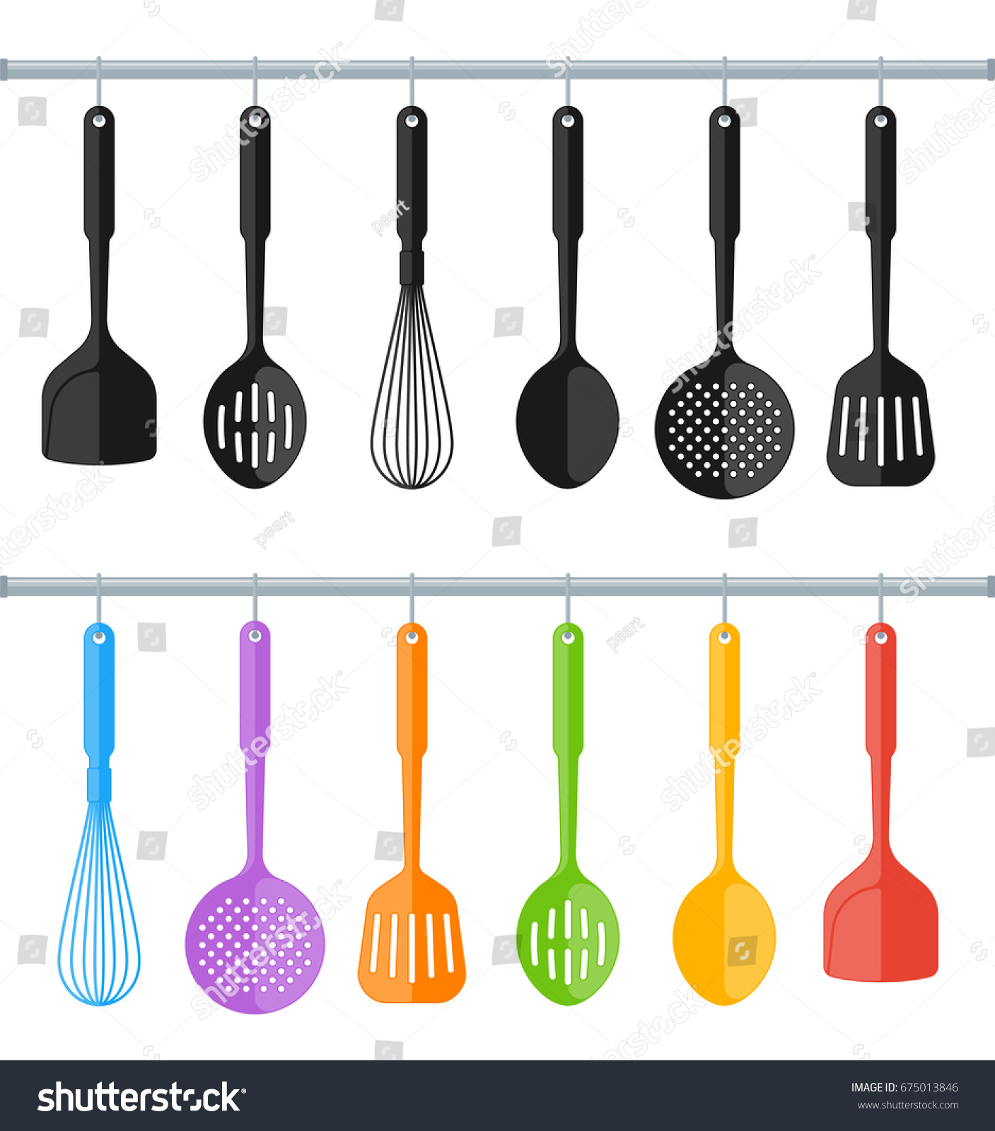 Black And Colorful Hanging Plastic Kitchen Utensil Set. Flat Concept  Illustration Of Cooking Tools.