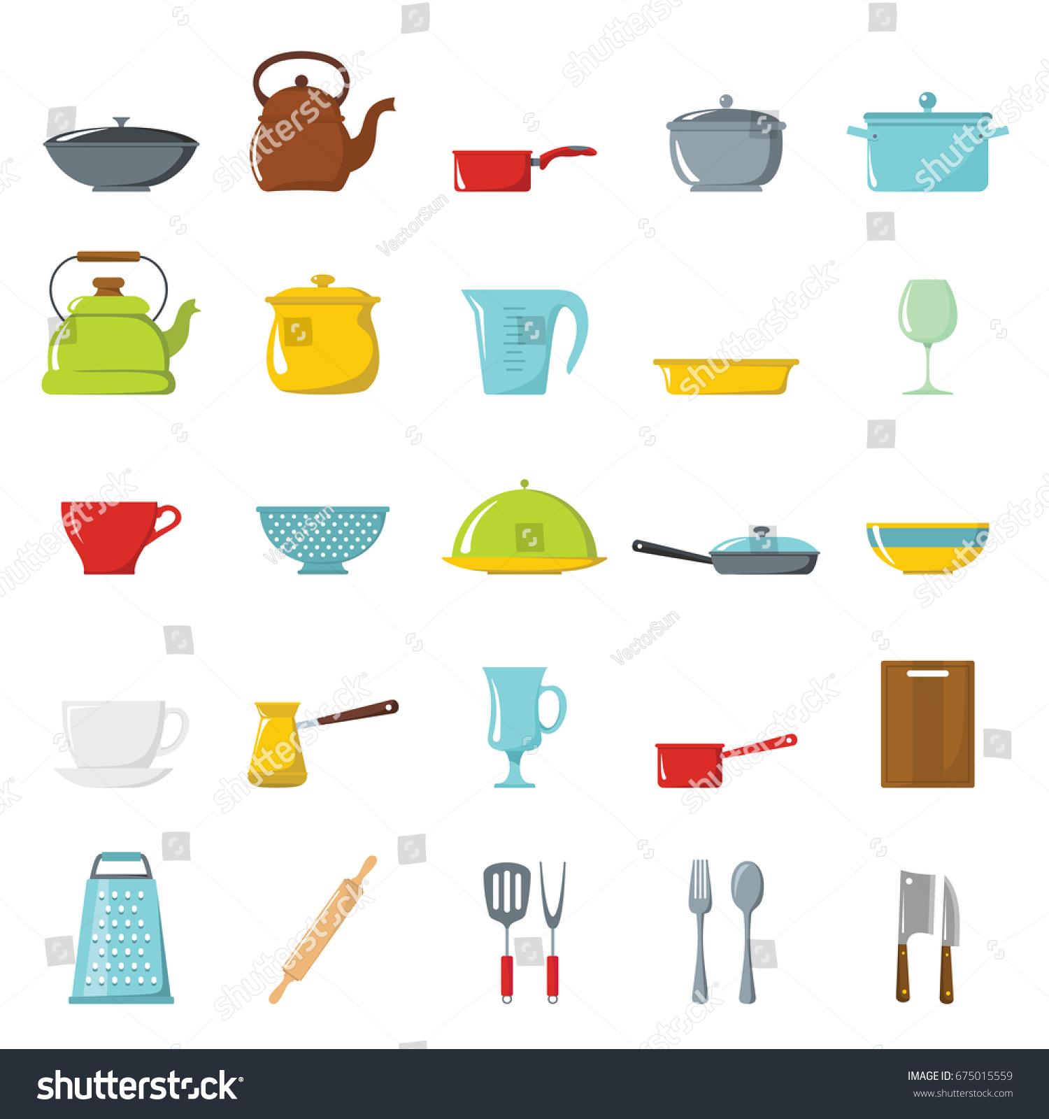Cartoon Kitchen Tools ~ Kitchen tools dishes cookware kitchenware cartoon stock
