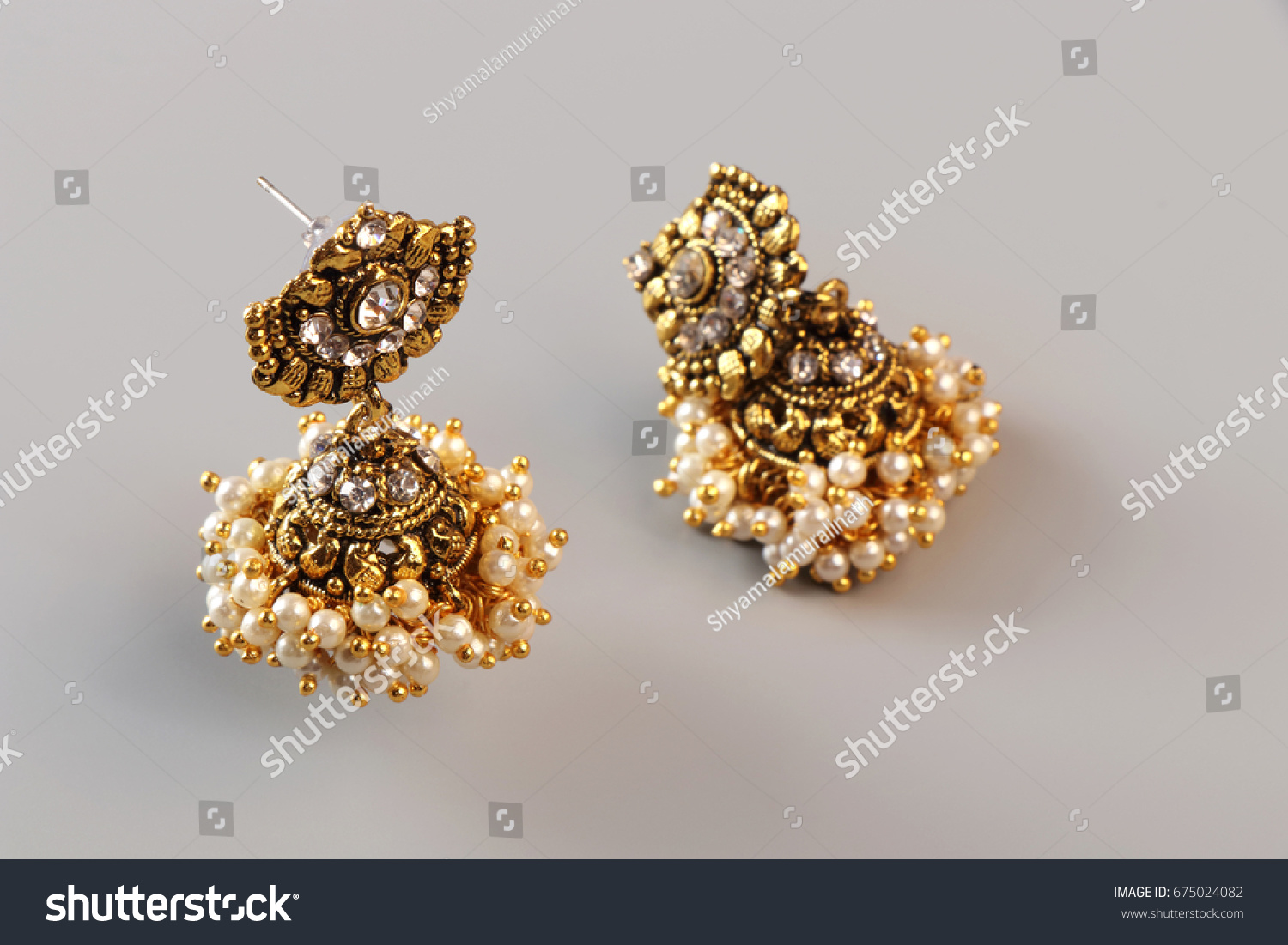 Indian Made Traditional Gold Earrings Stock Photo 675024082 ...