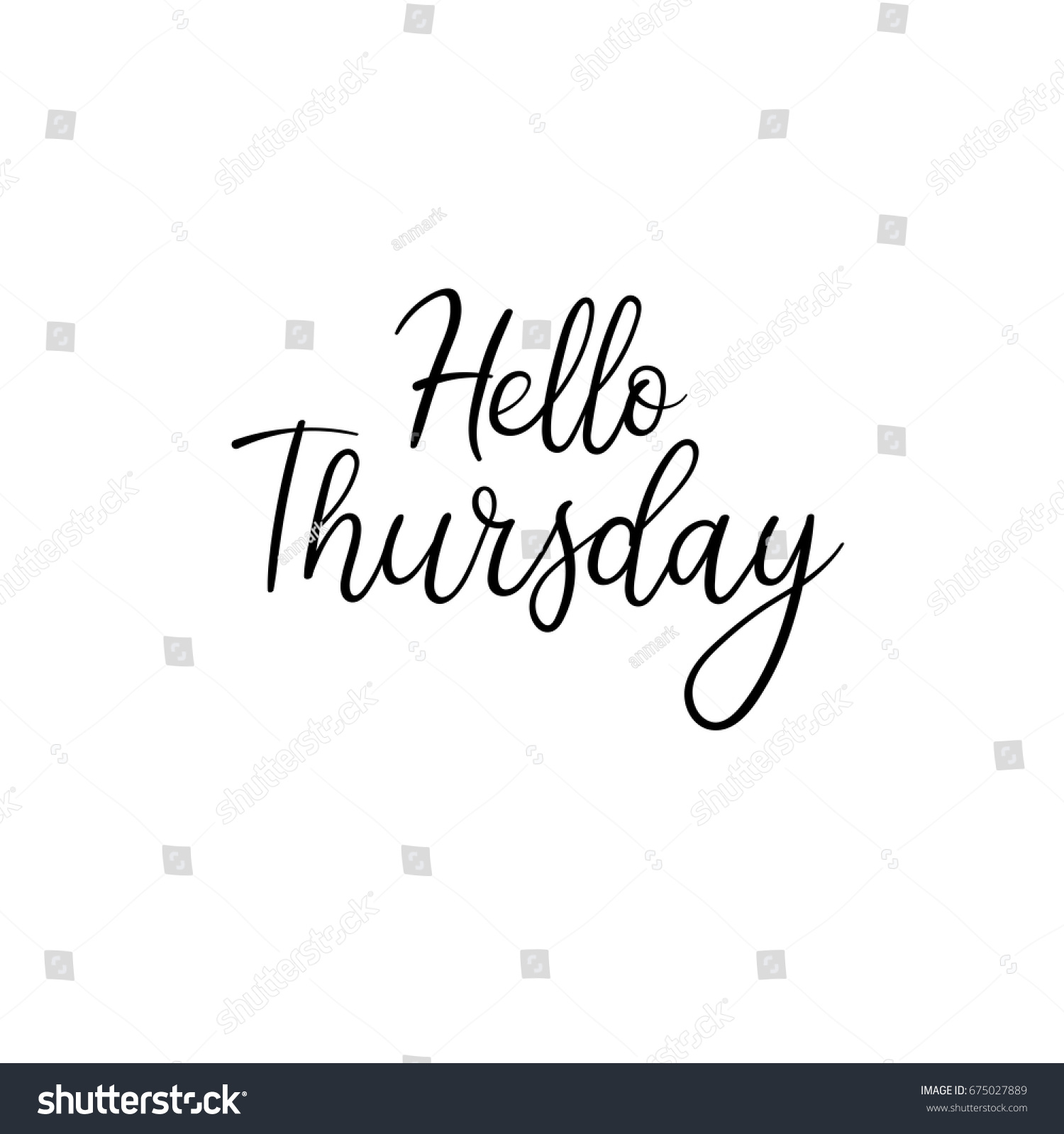 Hello Thursday Calligraphy Inscription Weekly Greeting Stock ...