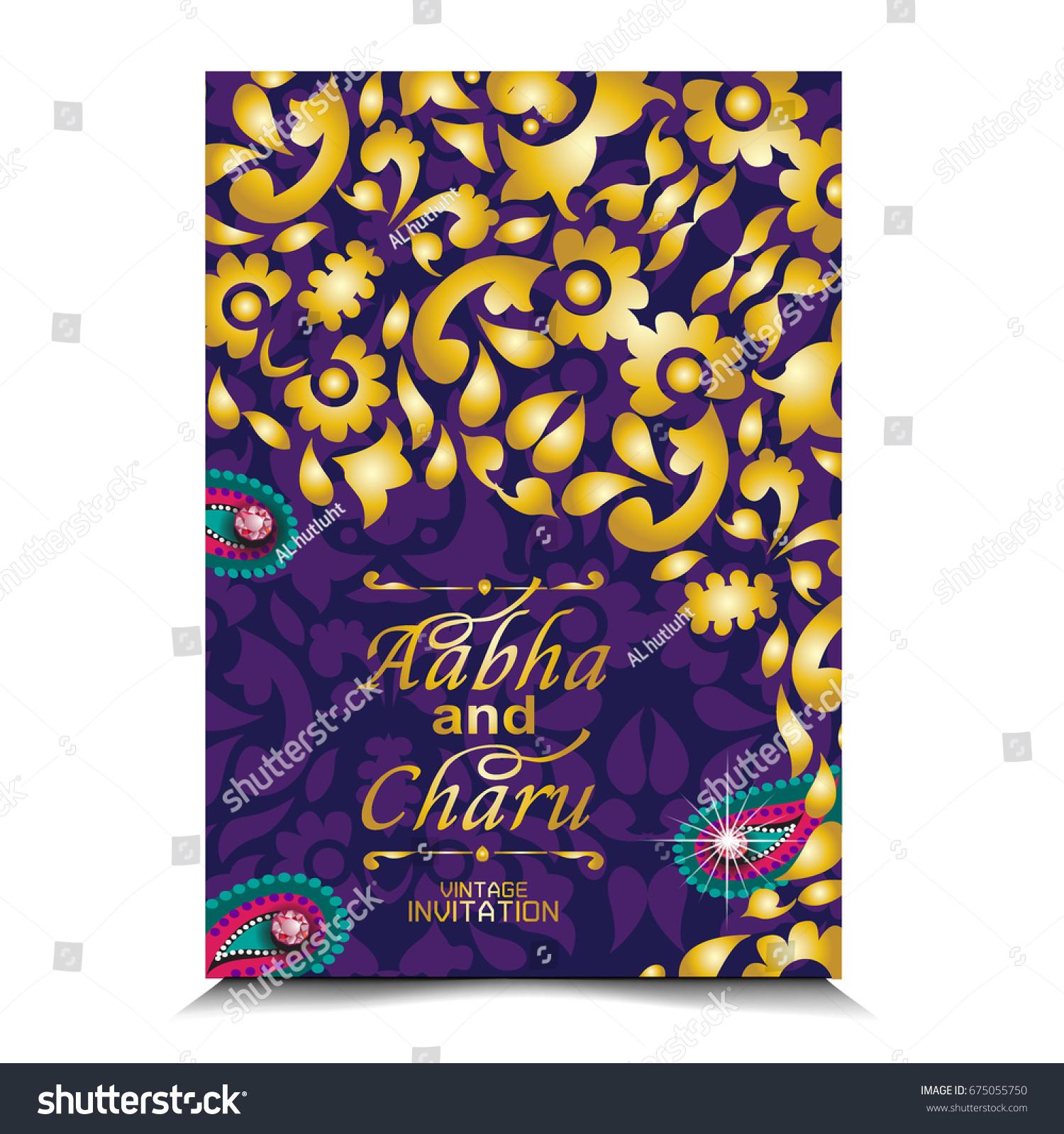 Vector Illustration Indian Wedding Invitation Card Stock Vector