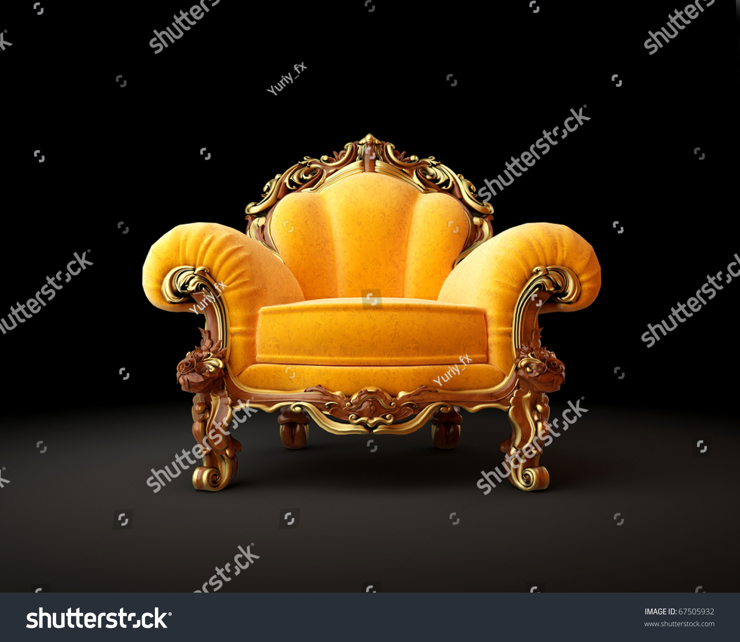 Old Fashioned Chair On Black Background 3d Render Stock