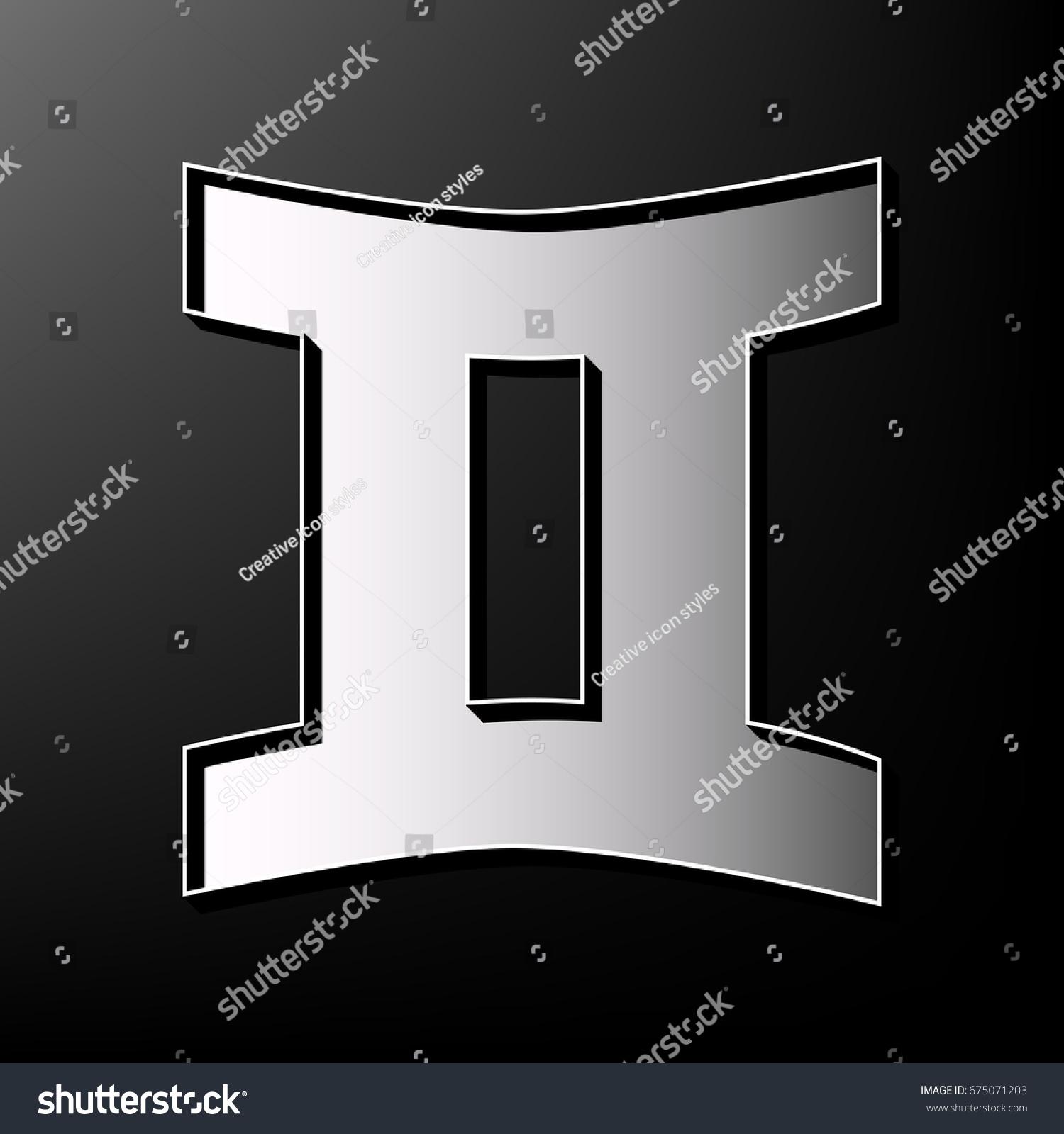 Gemini sign vector gray 3d printed stock vector 675071203 gemini sign vector gray 3d printed icon on black background buycottarizona