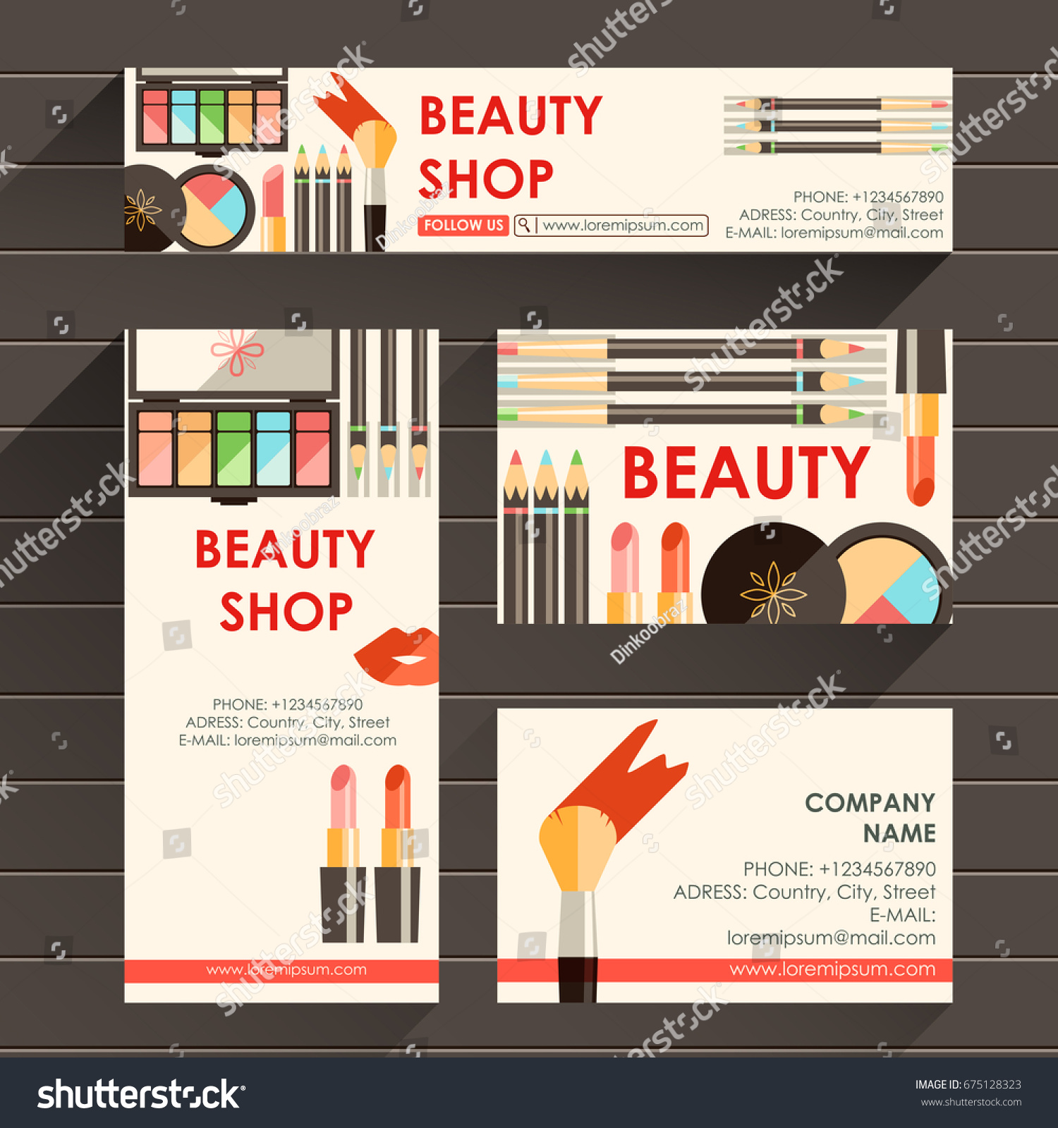 vector flat ready design template makeup stock vector
