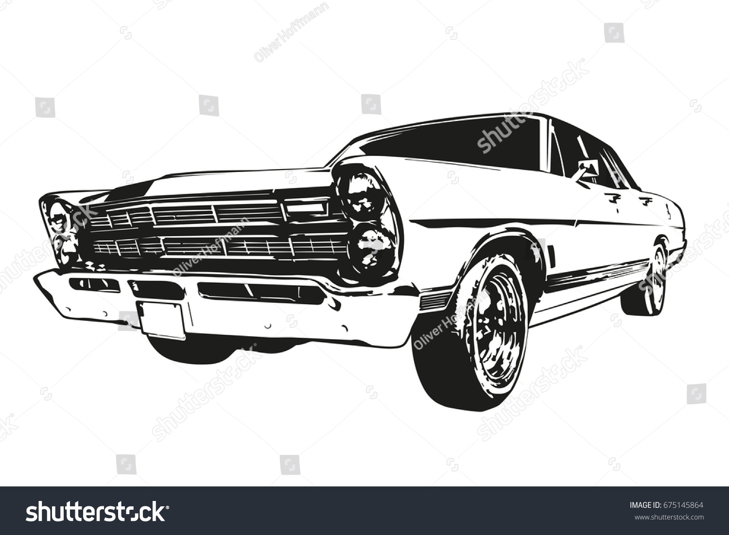 Silhouette Vintage American Muscle Car 1960s Stock Vector ...