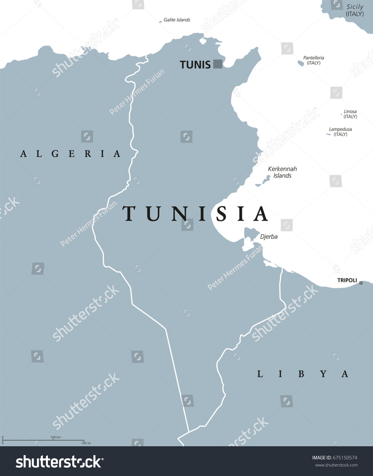 Tunisia Political Map Capital Tunis Borders Stock Vector - Tunisia country political map