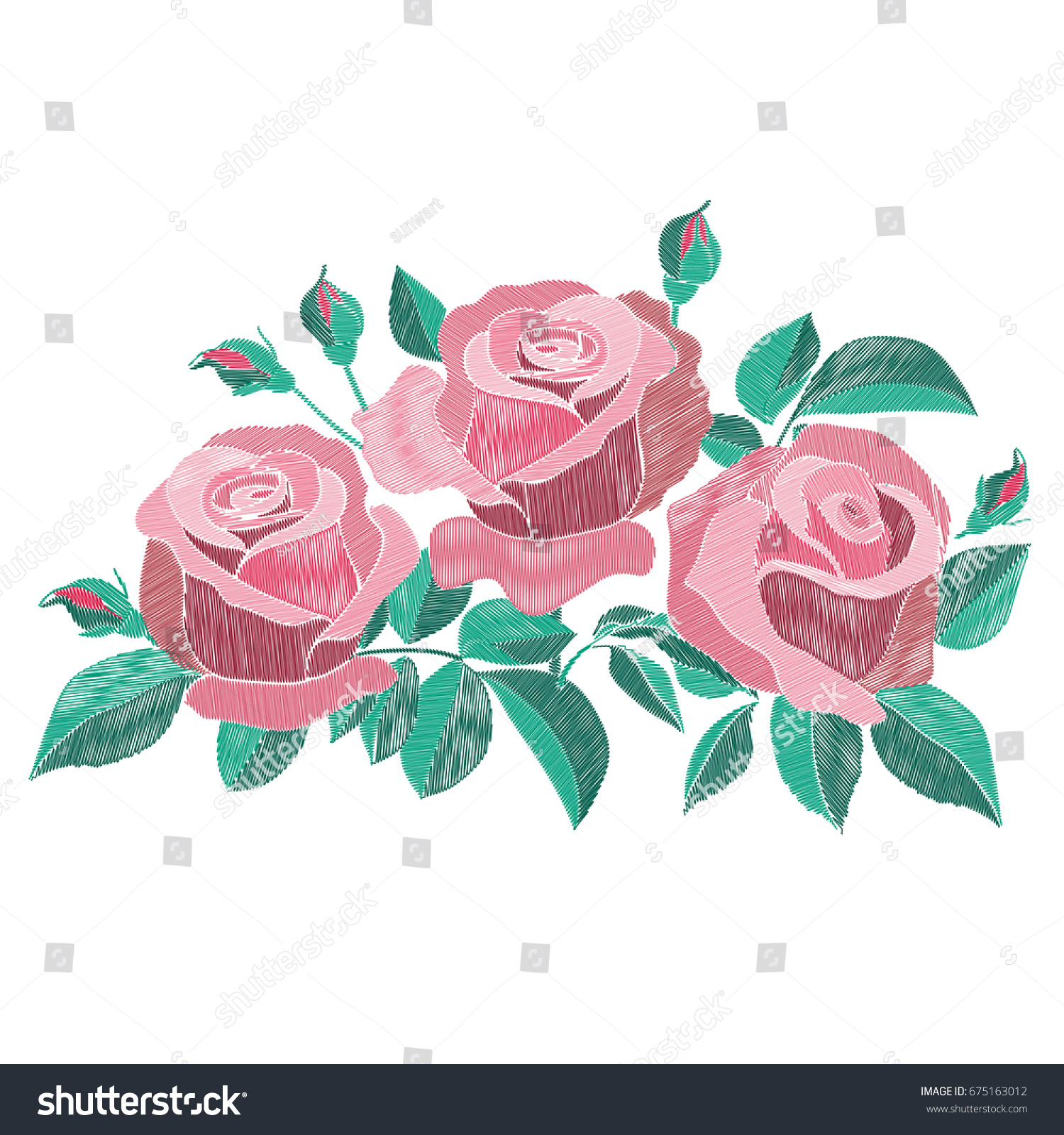 Red Pink Embroidery Roses Bush Leaves Stock Vector 675163012