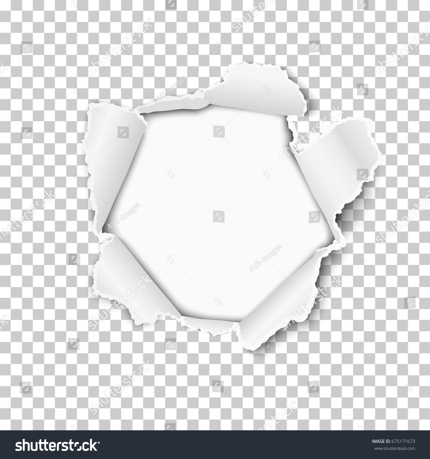 torn hole sheet transparent paper white stock vector (royalty free