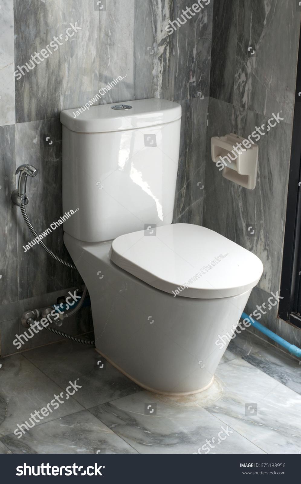 White Camode Toilet Seat Gray Marble Stock Photo Edit Now 675188956