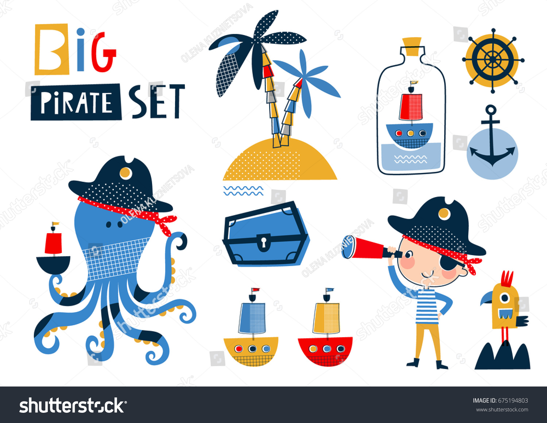Big Pirate Set Cute Templates Birthday Stock Vector (Royalty Free ...