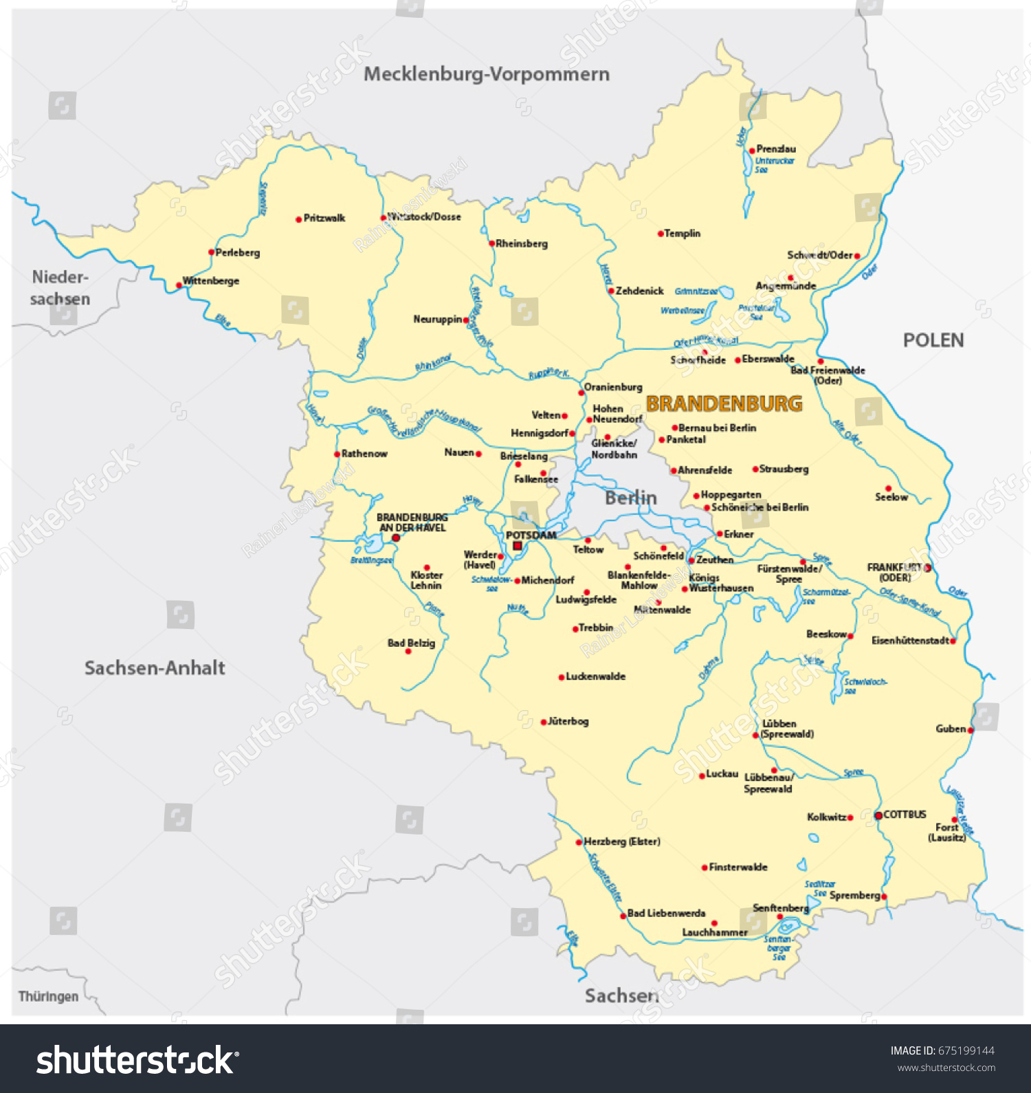 Map State Brandenburg German Language Stock Vector 675199144