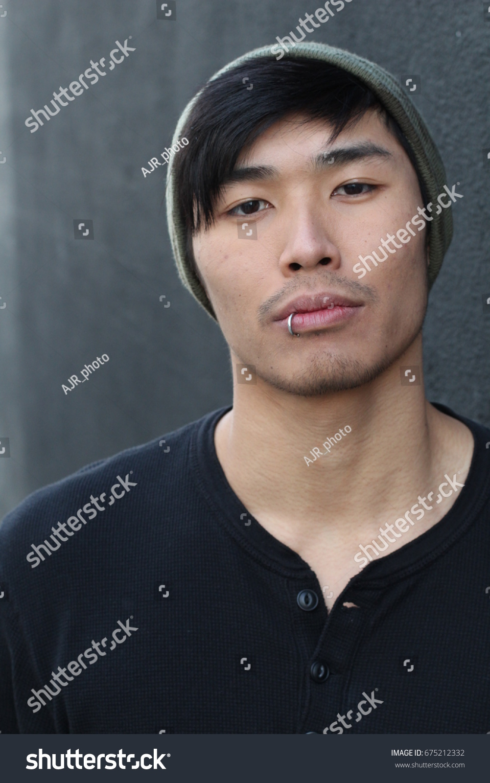 Asian Man Piercing Beanie Stock Photo Edit Now 675212332