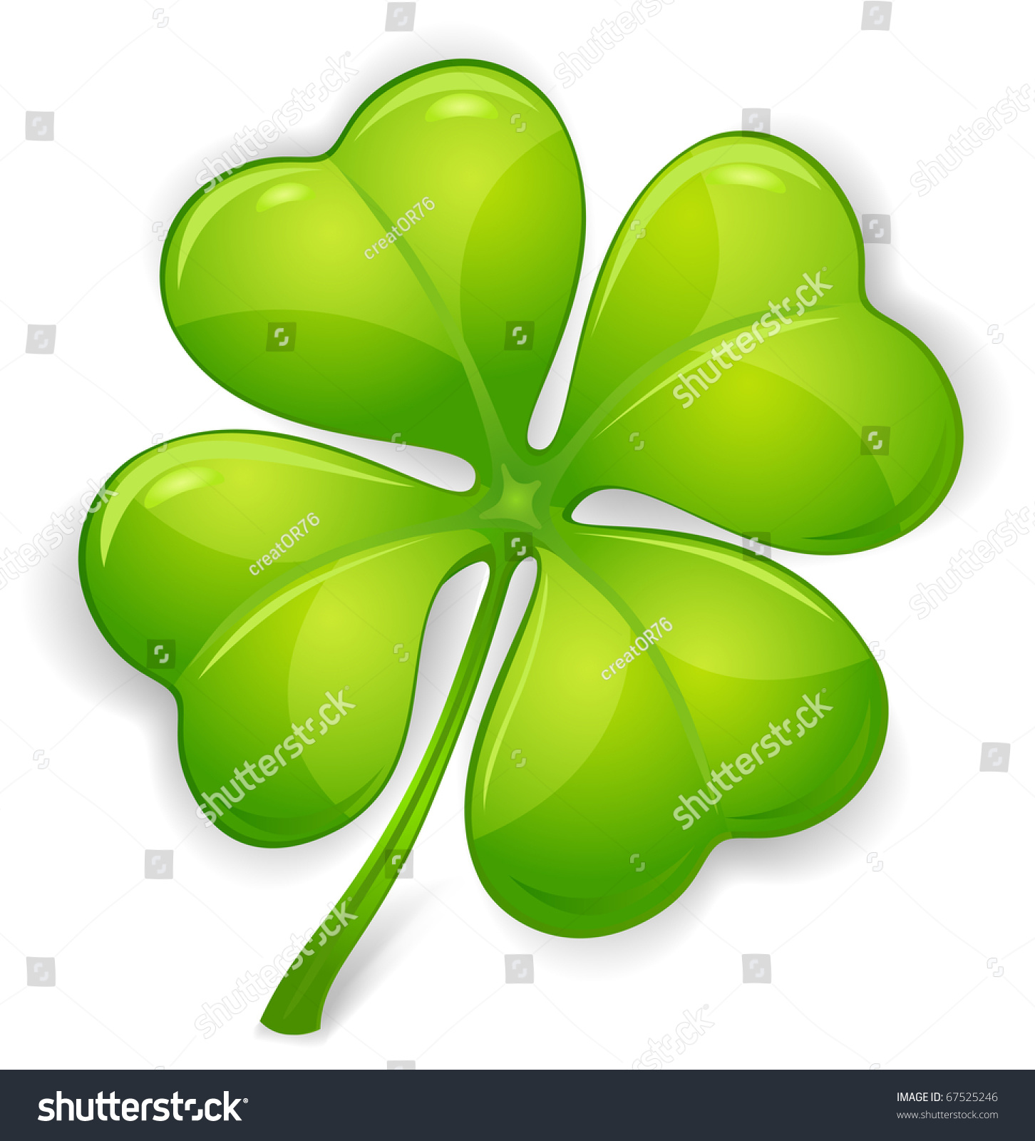 Four Leaf Clover Isolated On White, Vector Illustration ...