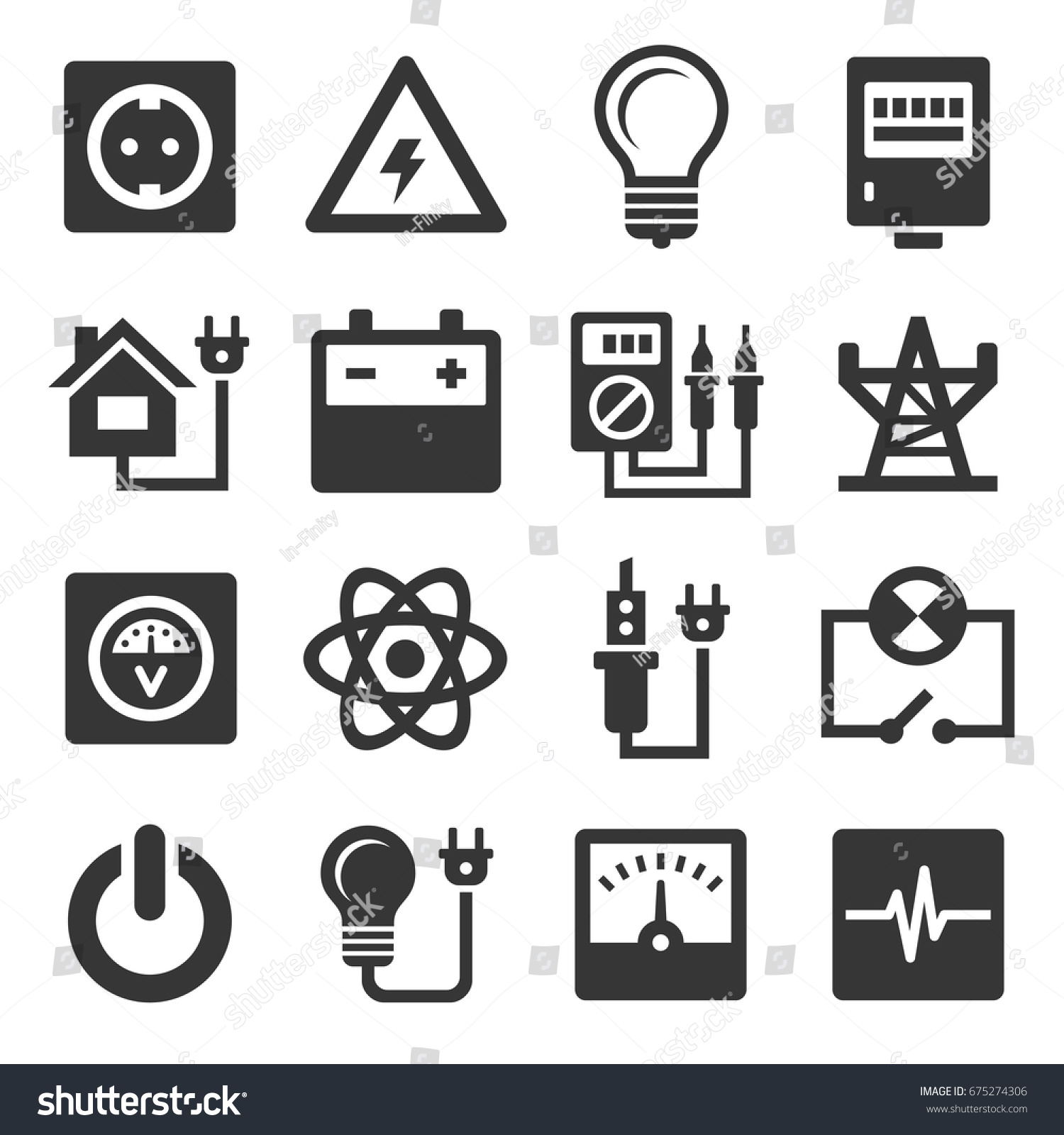Energy Electricity Icons Set Stock Vector 675274306 - Shutterstock