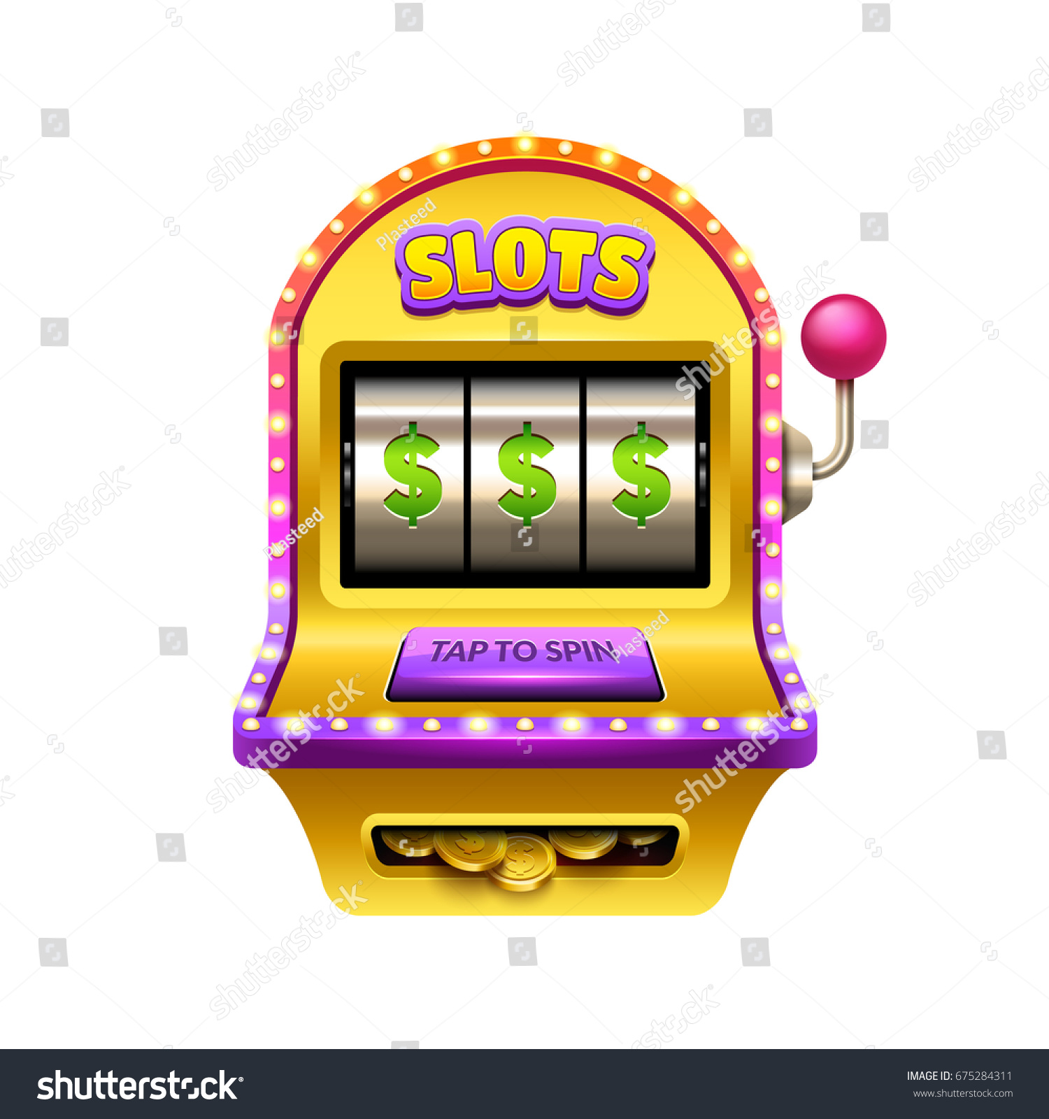 Slot Machine Illustration Casino Game Ui Stock Vector Royalty Free 675284311