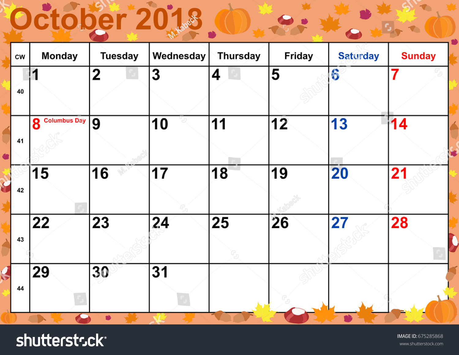 Calendar 2018 Month October Public Holidays Stock Vector Royalty