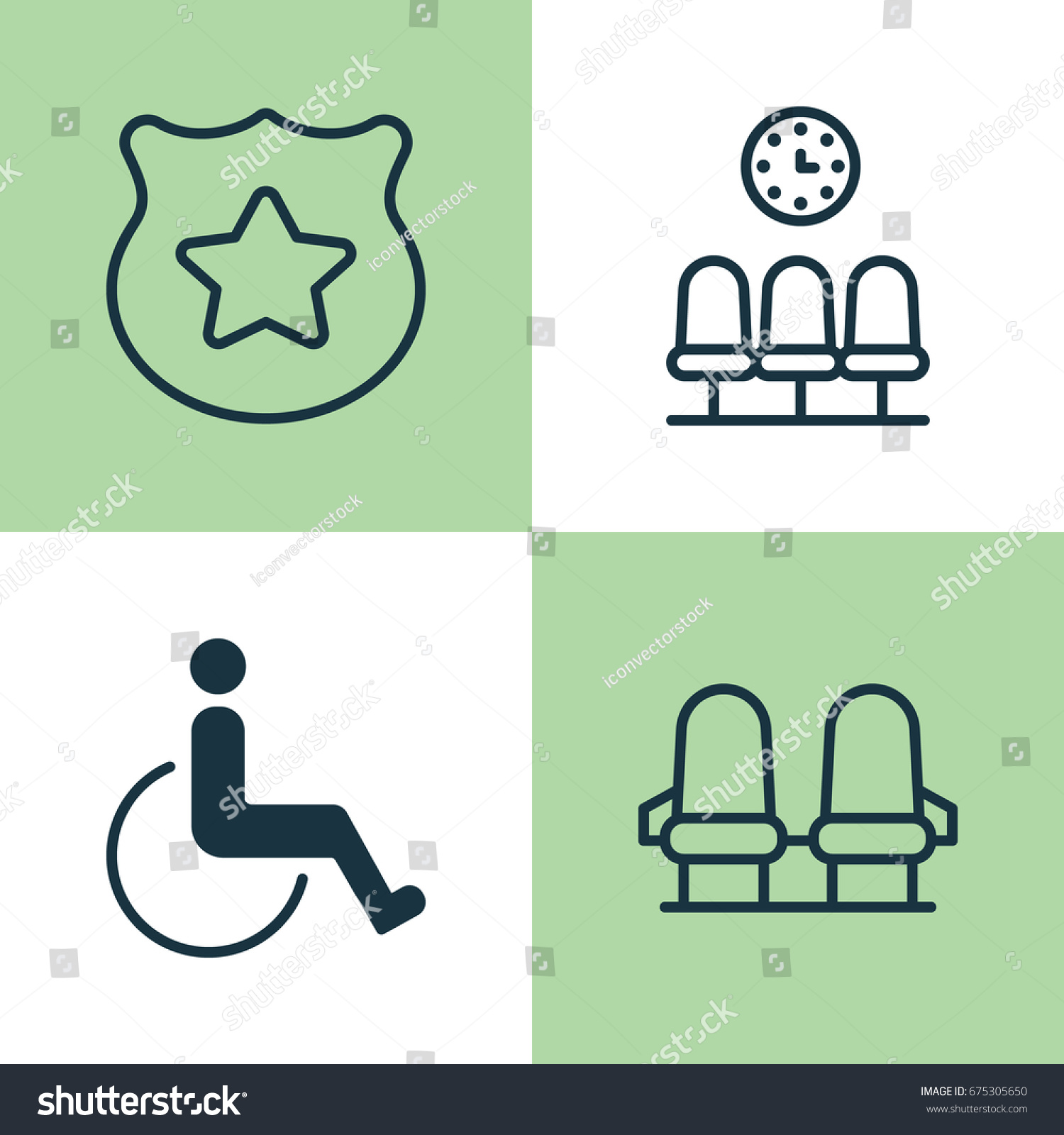 Traveling Icons Set Collection Seats Cop Stock Vector Royalty Free