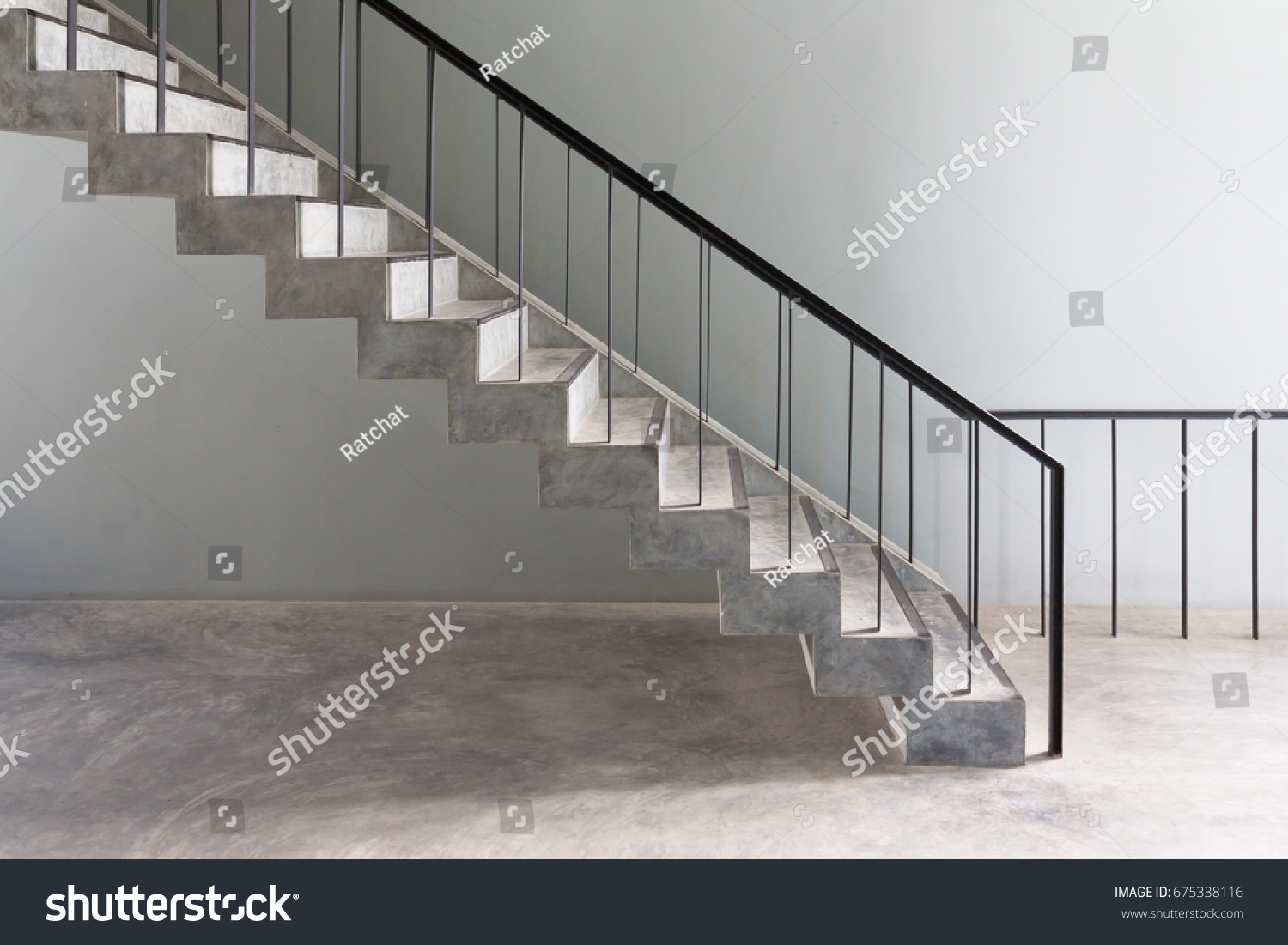 Concrete Stair Steps And Black Steel Ladder Handle, Loft Style For Home  Decoration