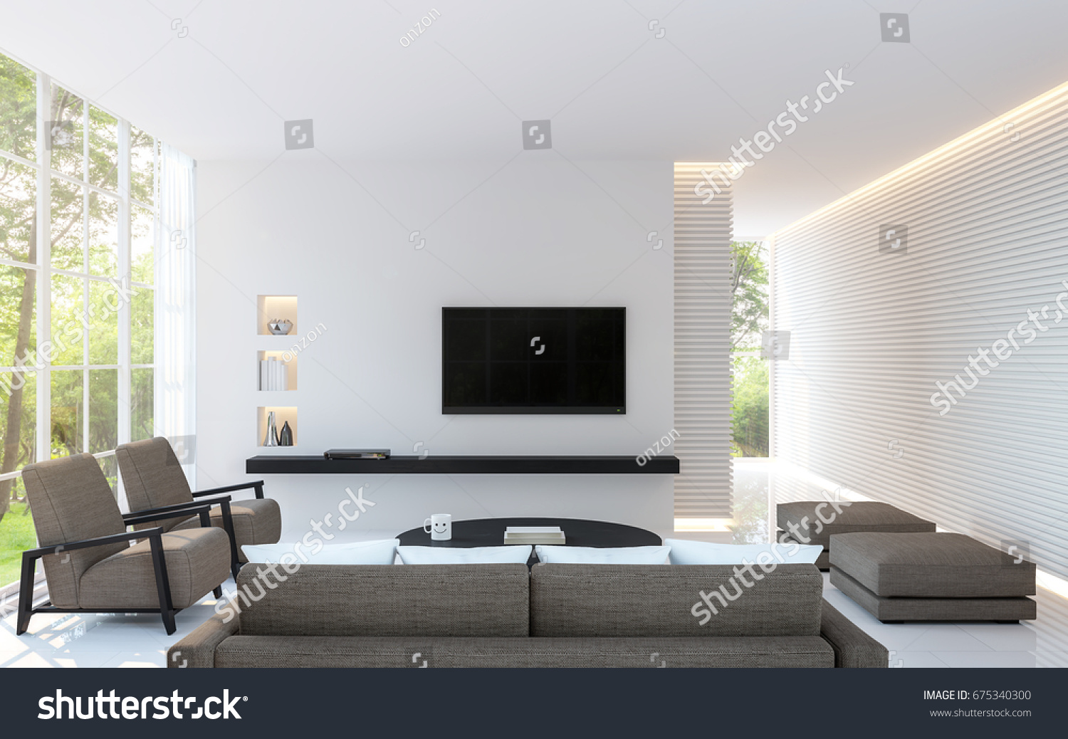 Modern White Living Room Decorate Wall Stock Illustration 675340300 ...