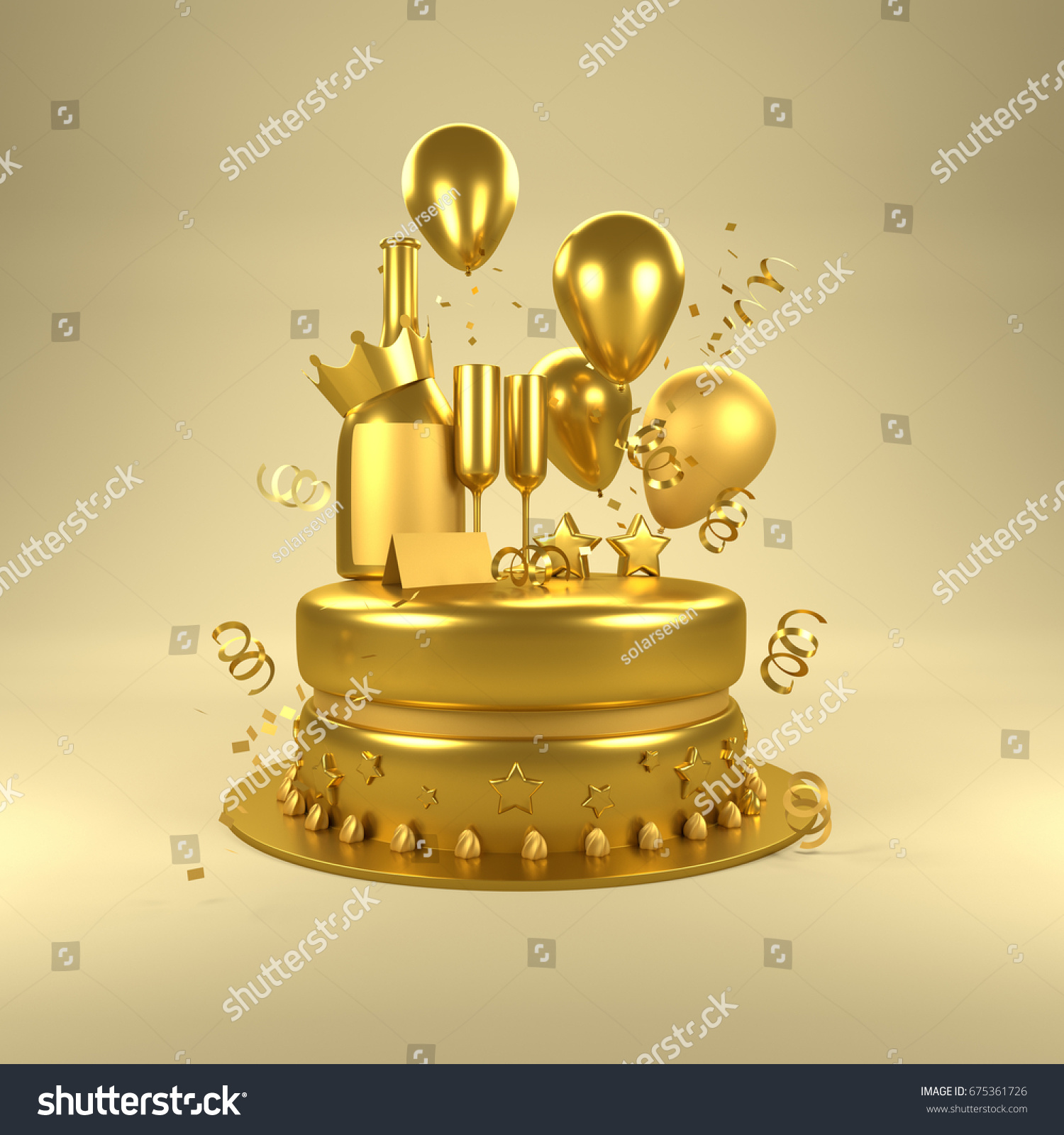 Gold Birthday Surprise Birthday Celebrations Gold Stock Illustration