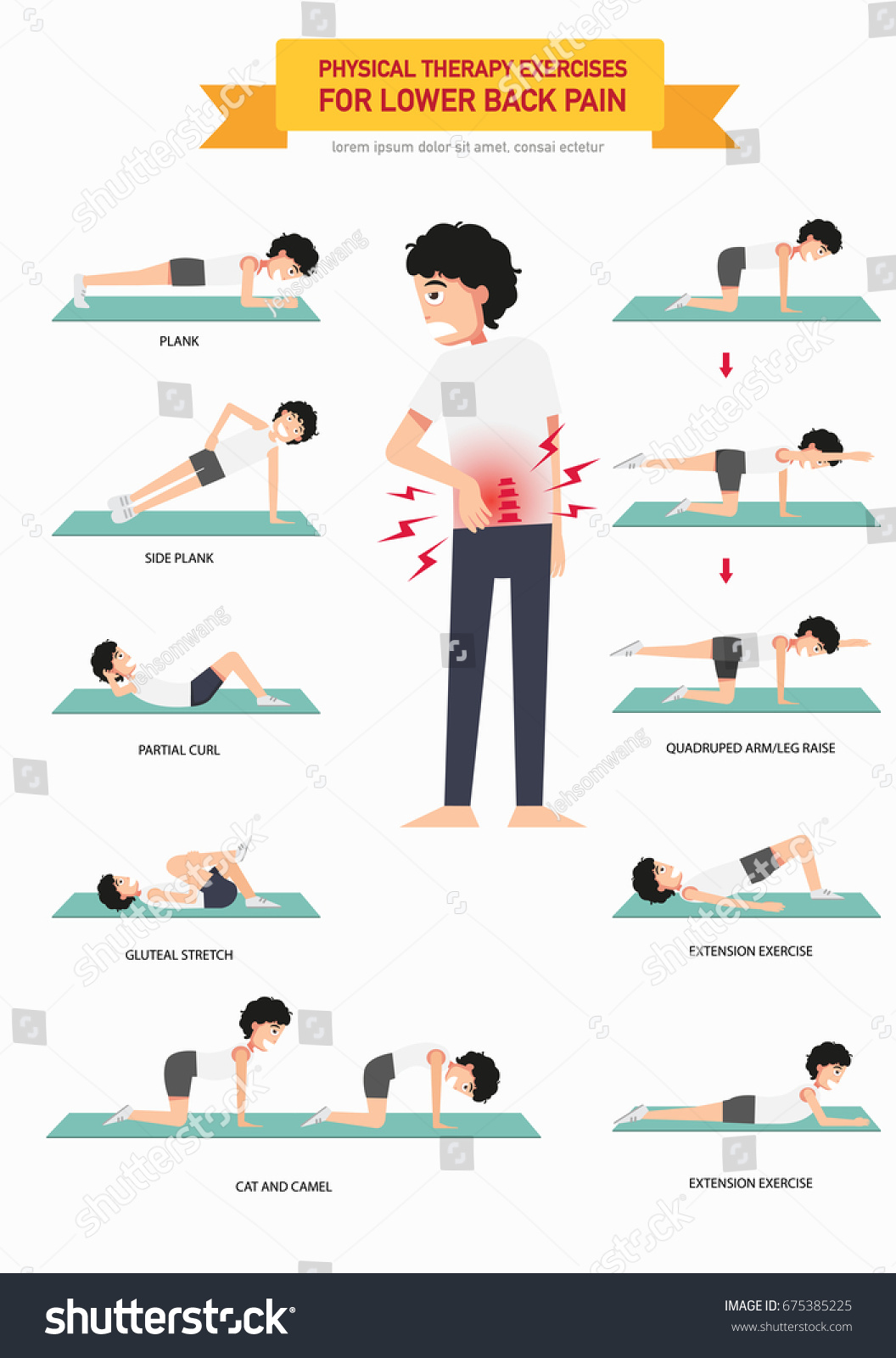 Back exercise lower physical therapy - Physical Therapy Exercises For Lower Back Pain Infographic Vector Illustration