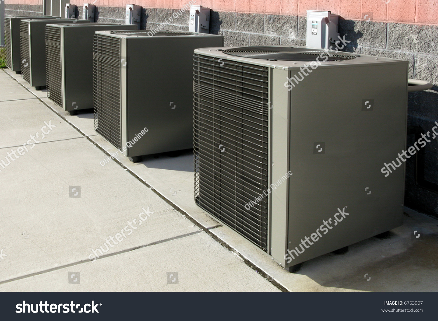 A h heating air conditioning service - Row Of Commercial Hvac Air Conditioner Outside Condenser Units Outside 865545