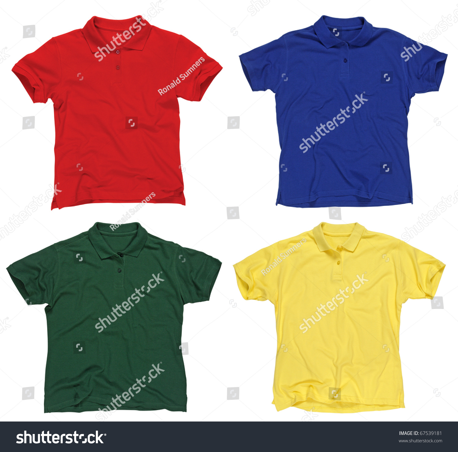 Photograph Of Four Blank Polo Shirts Red Blue Green And