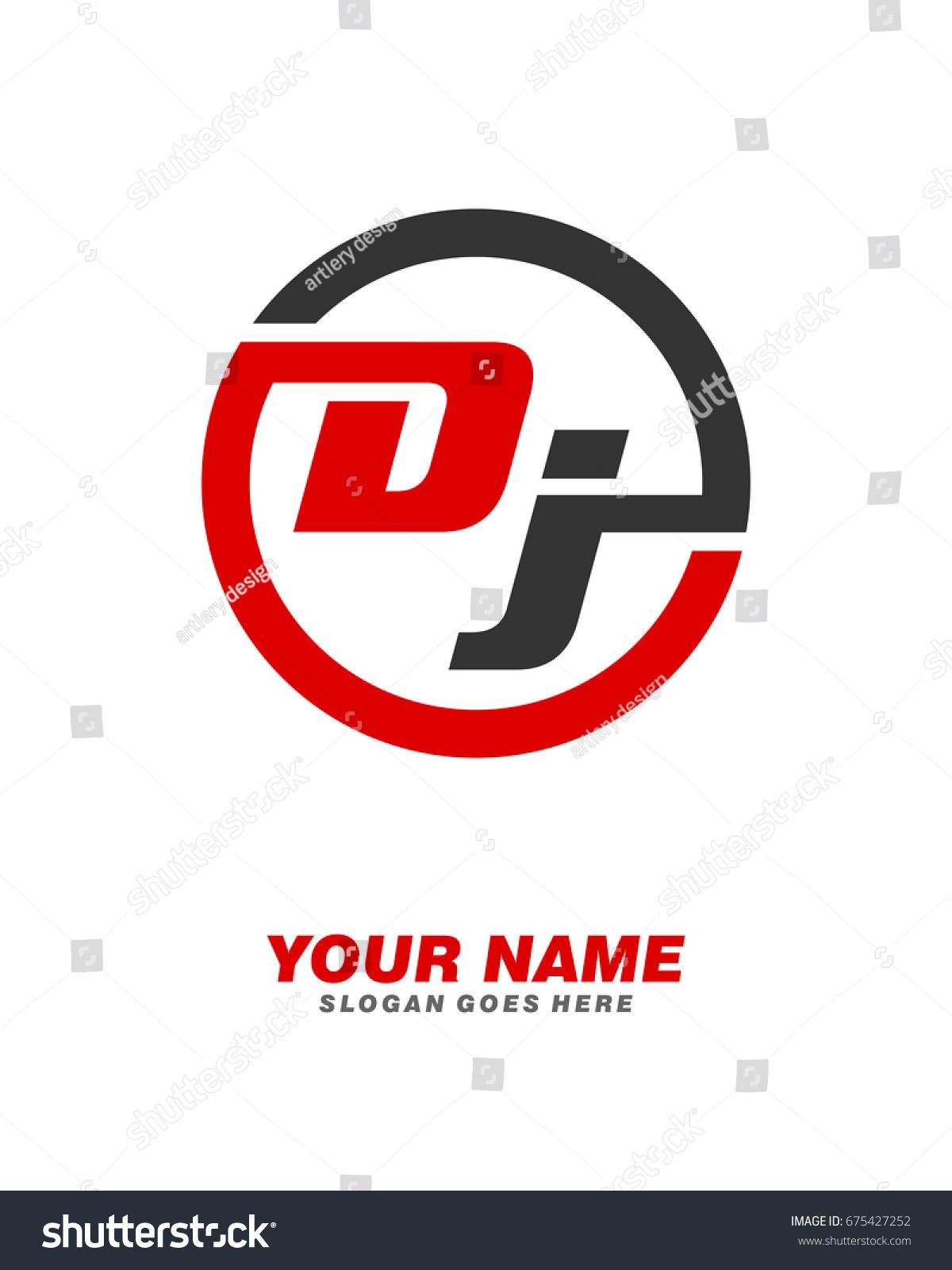 D J Initial Circle Logo Template Stock Vector (Royalty Free ...