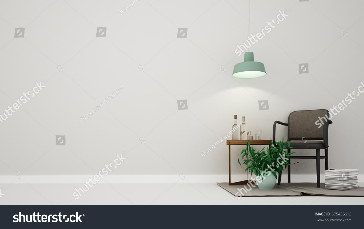 minimal furniture. Interior Minimal Relax Space Furniture 3d Rendering And Background White Decoration Dark Color