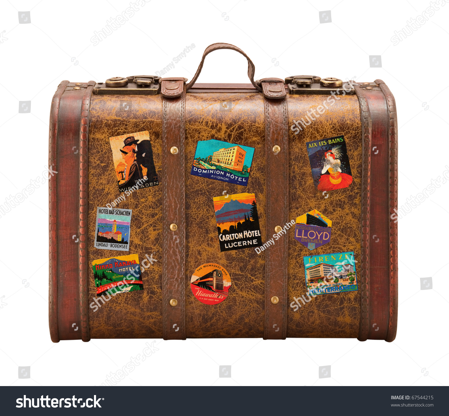 Old Suitcase Travel Stickers Isolated Clipping Stock Photo ...