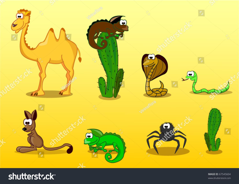 Desert Animals Including Camel Lizard Spider Stock Vector ...