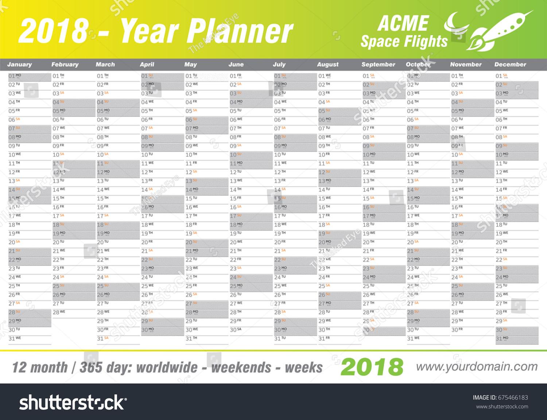 annual event calendar template - year planner calendar 2018 vector annual stock vector