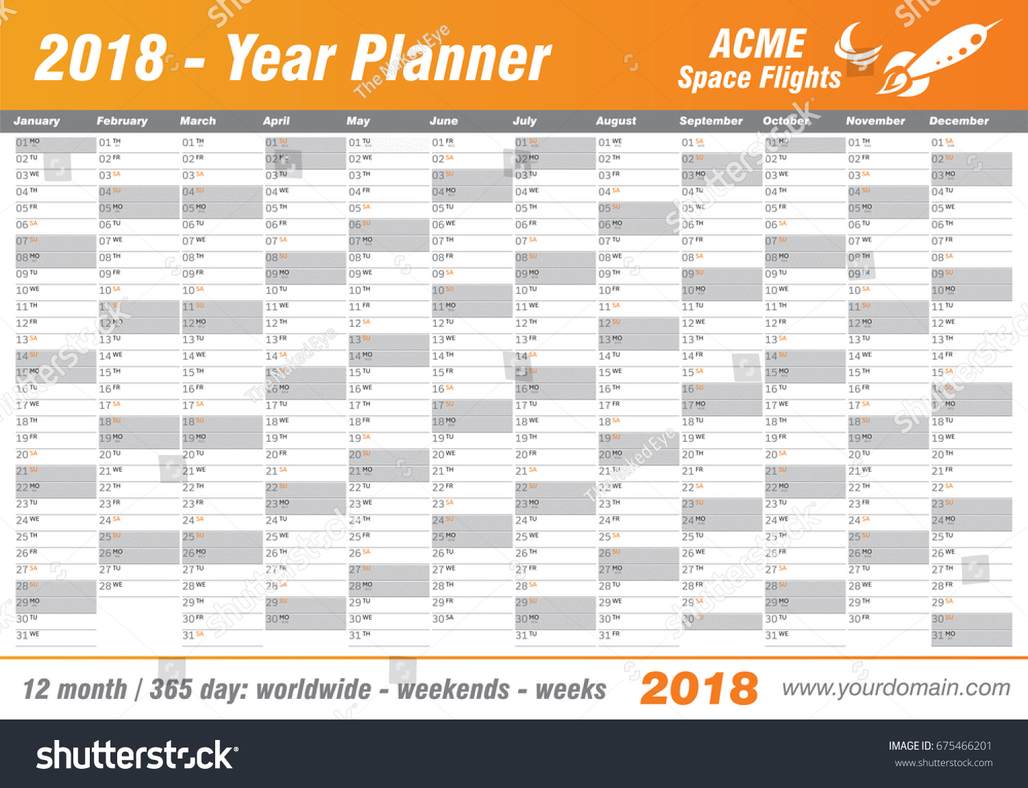 yearly financial planner template - year planner calendar 2018 vector annual stock vector