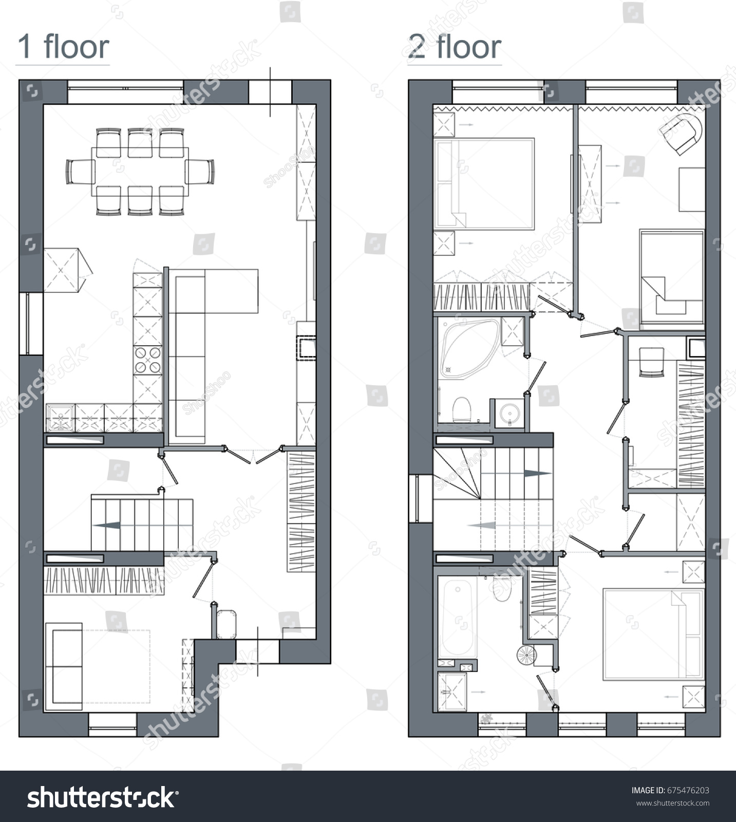 Drawing Plan Two Story Apartment Stock Illustration