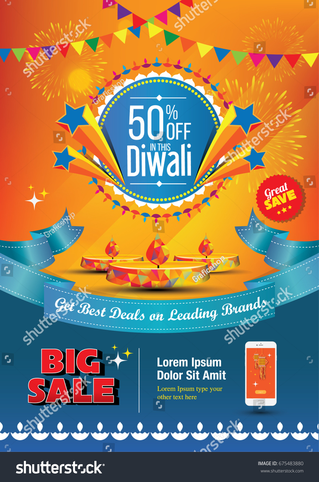 A4 Diwali Sale Poster Design Template Stock Vector HD (Royalty Free ...