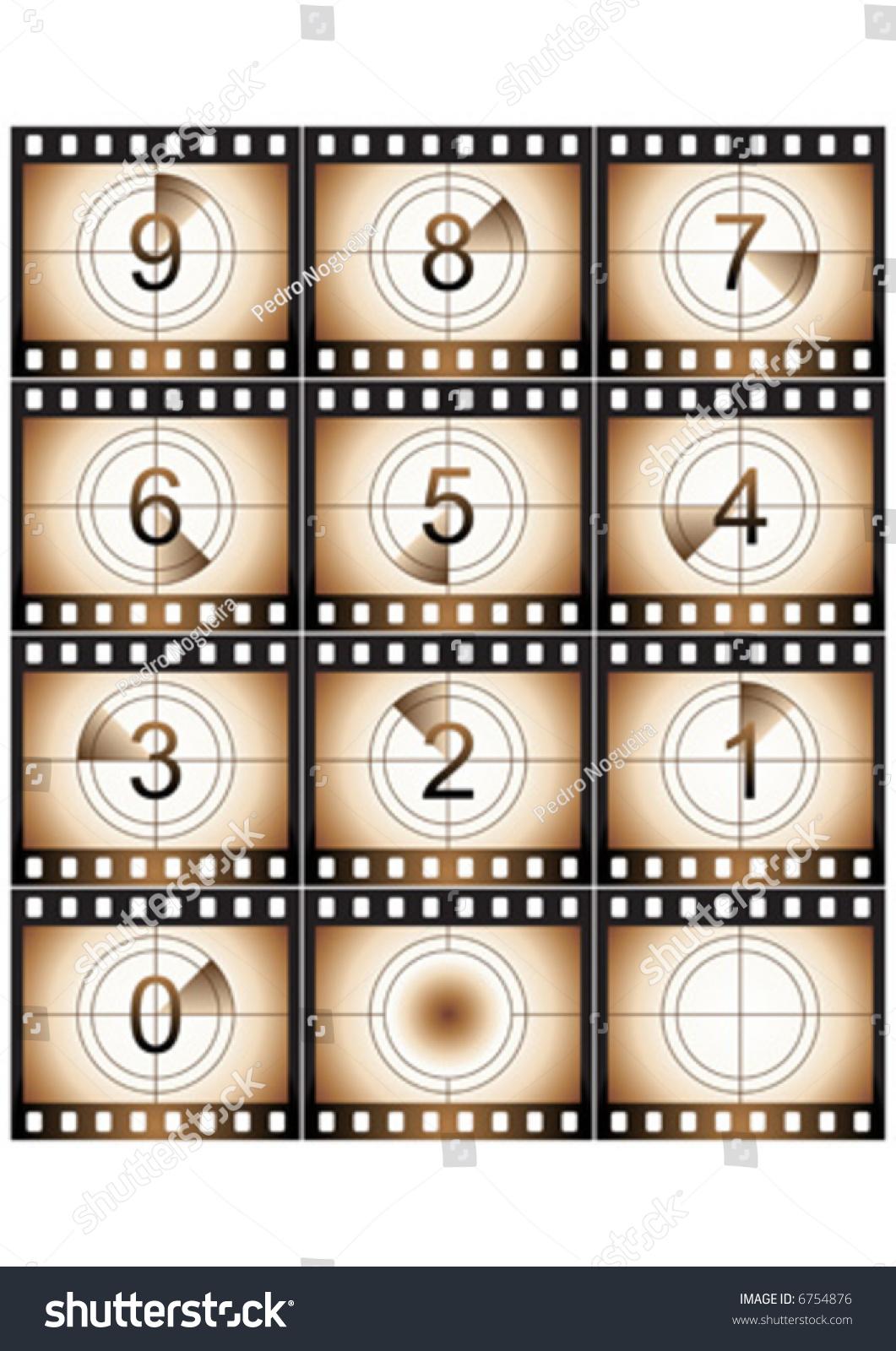 Film Countdown: Old Film Strip Countdown Grunge Look Stock Vector 6754876