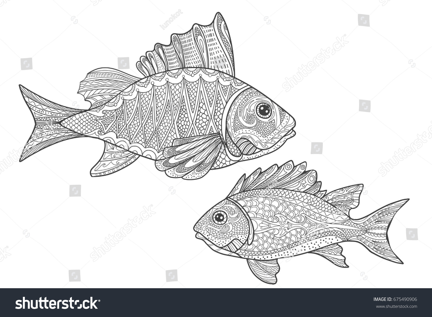 Sealife Coloring Page Fishes Adult Coloring Stock Vector HD (Royalty ...