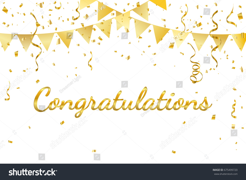 congratulations golden confetti ribbon vector illustration の