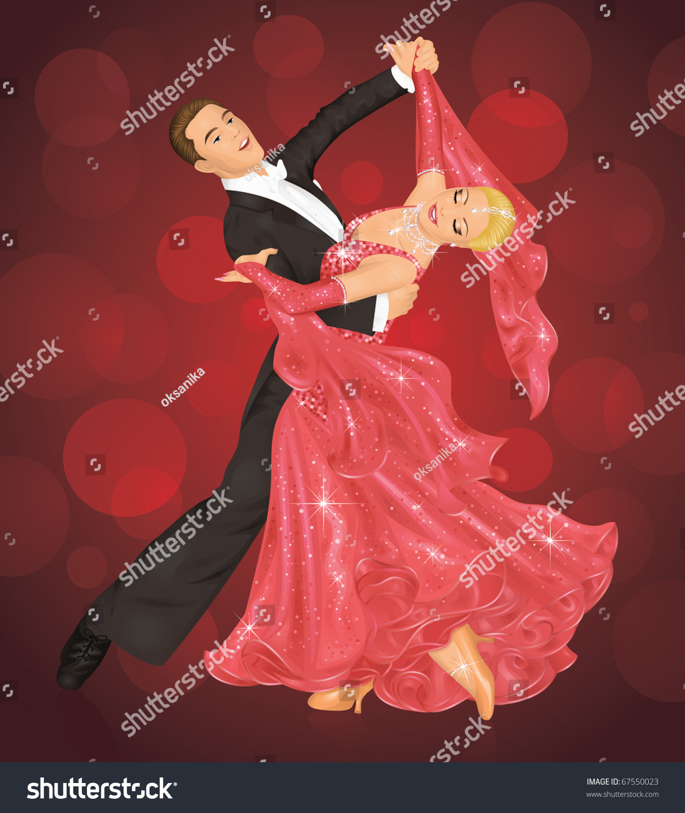 Couple Is Ballroom Dancing On The Red Background. Stock ...