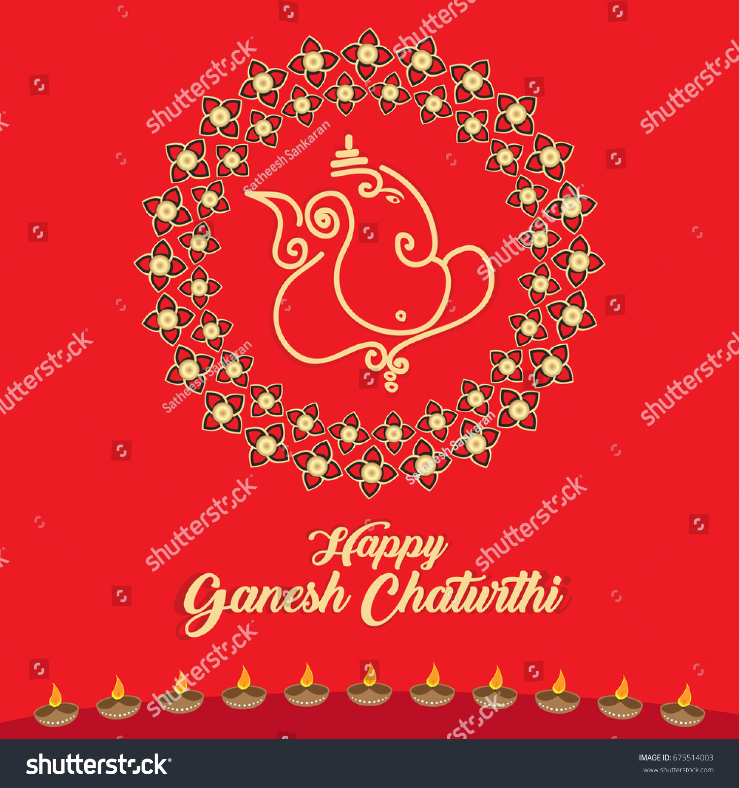 Happy Ganesh Chaturthi Greeting Card Vector Stock Vector 675514003