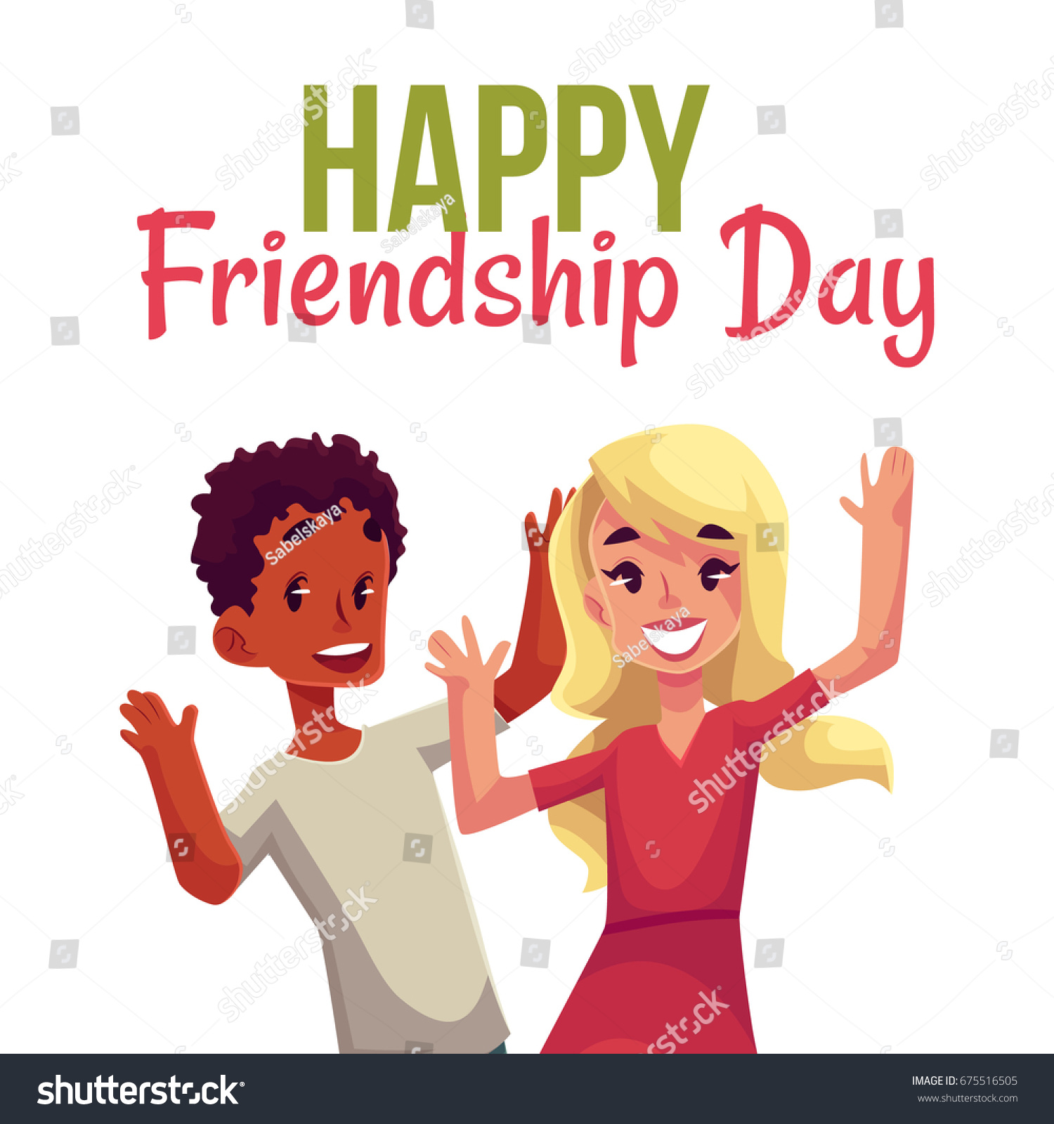Happy Friendship Day Greeting Card Design Stock Vector Royalty Free