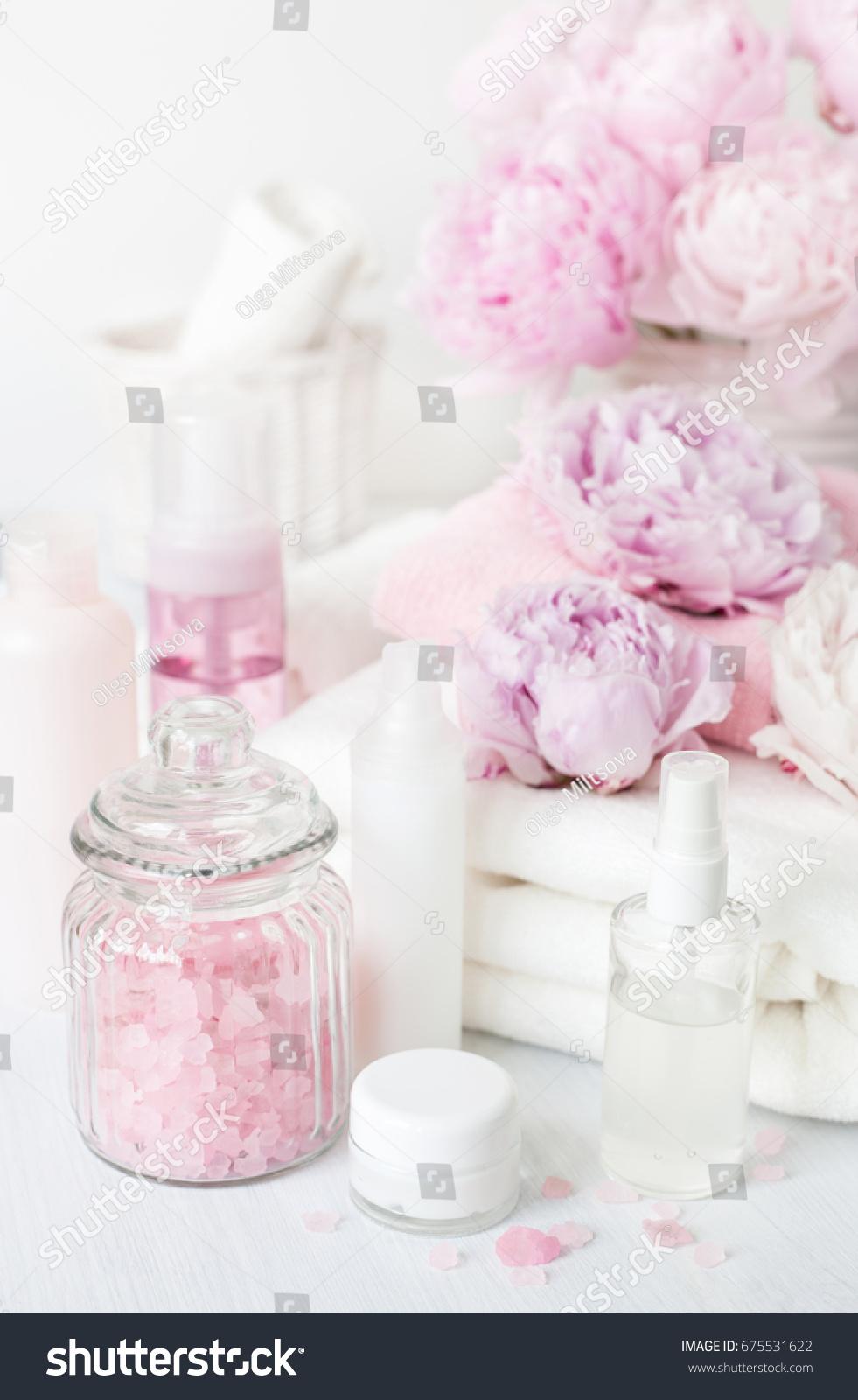 Bath Spa Peony Flowers Beauty Products Stock Photo Edit Now