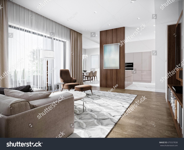 Modern Urban Contemporary Living Room Hotel Stock Illustration ...