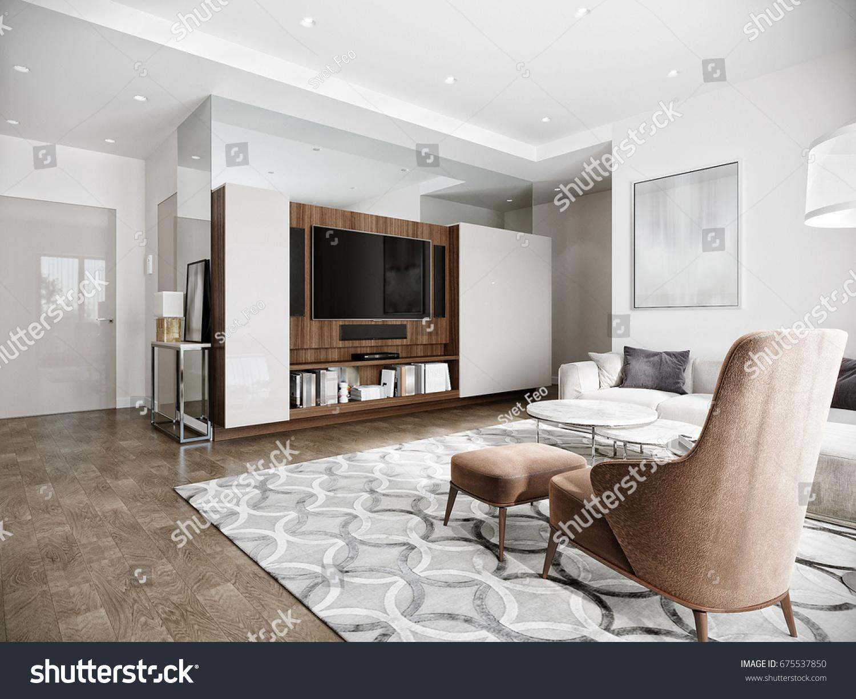 Modern urban contemporary living room hotel interior design with white  walls  tv  kitchen. Modern Urban Contemporary Living Room Hotel Stock Illustration