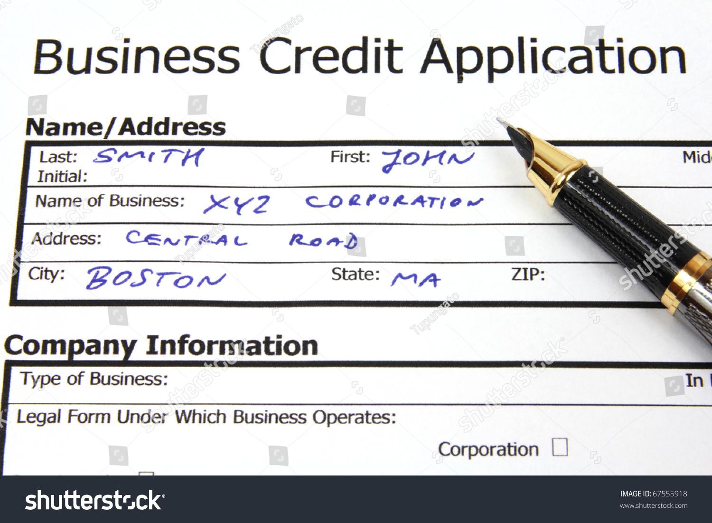 filling form business credit application banking stock photo filling the form of business credit application banking and financial services document fictional data