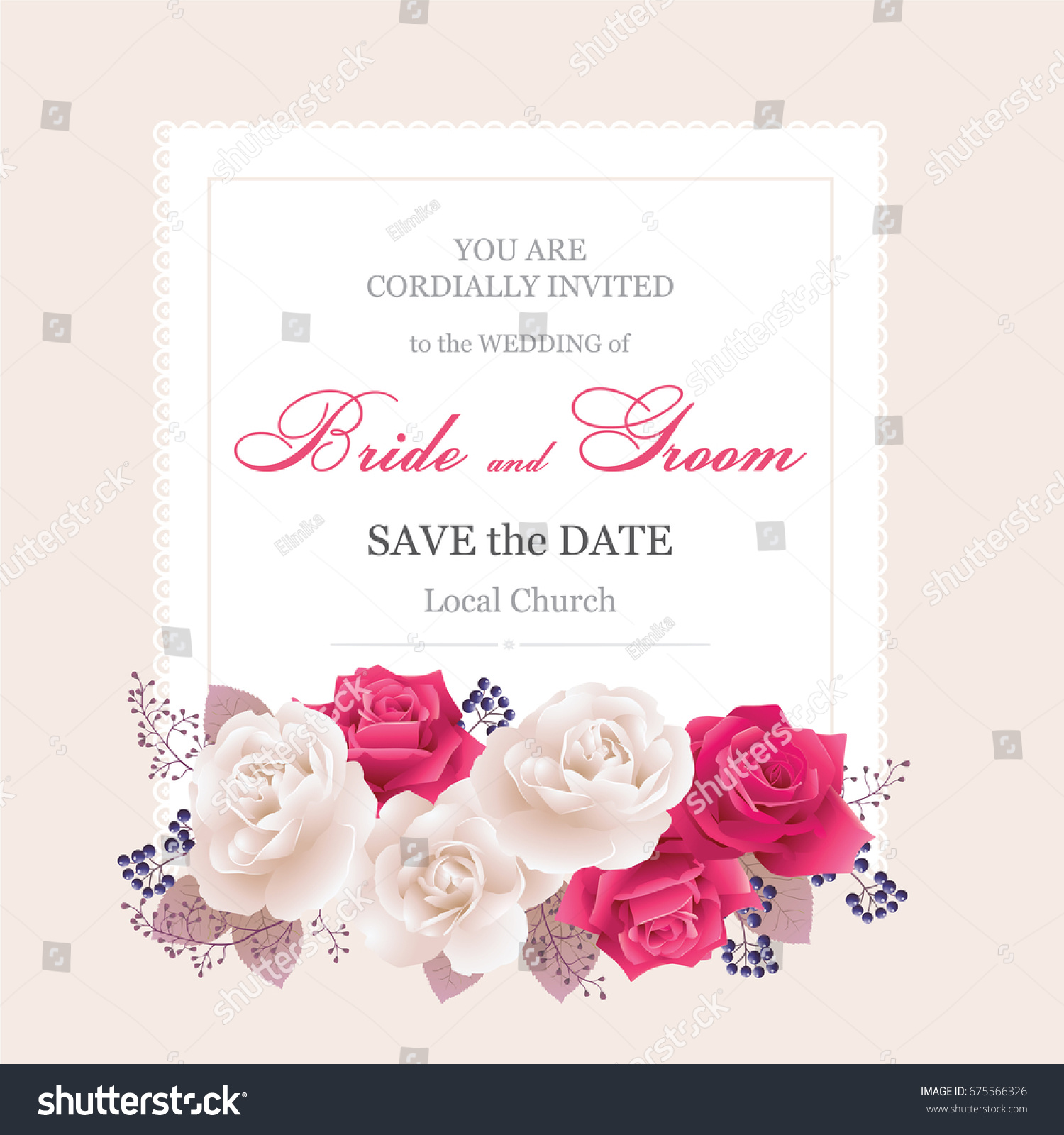 Wedding Invitation Cards Roses Beautiful White Red Stock Vector ...