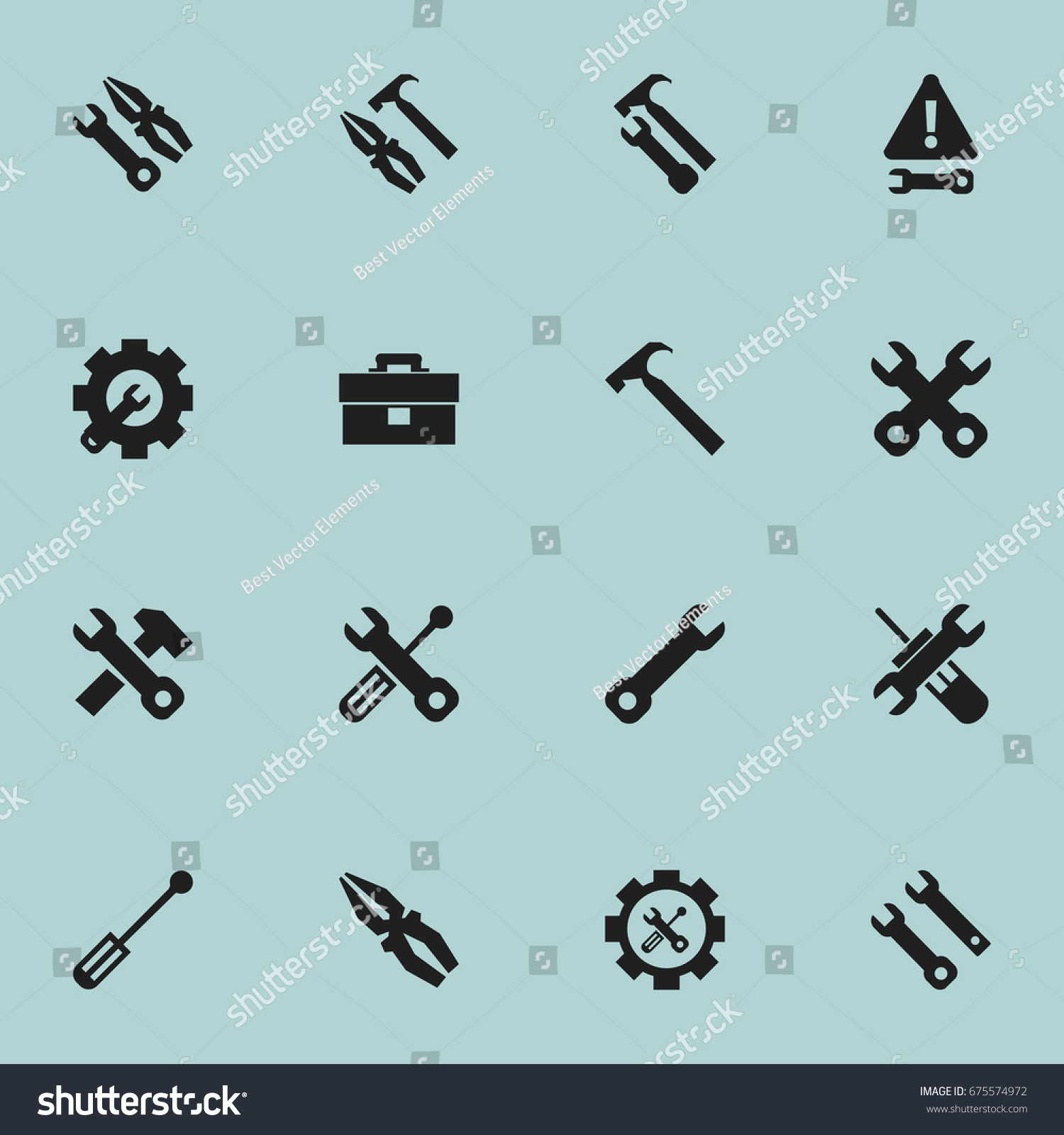 Set 16 Editable Tool Icons Includes Stock Vector (Royalty Free ...