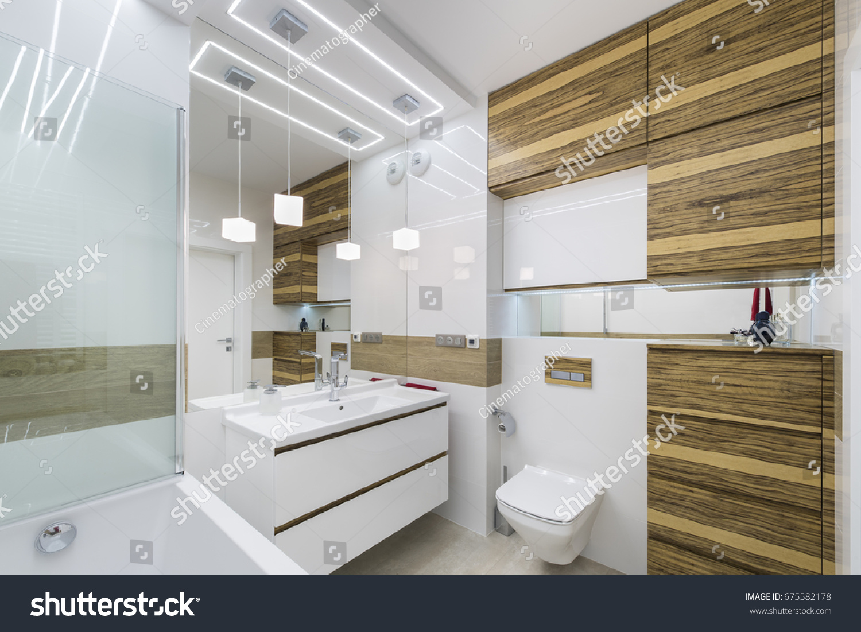 Modern Bathroom Interior Design Wooden Finish Stock Photo & Image ...